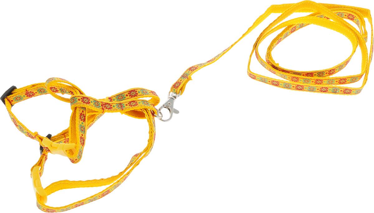 Комплект для кошек GLG Жаккард, цвет: желтый, 2 предметаEA-CP(P+AM) 4044Комплект для кошек GLG Жаккард включает в себя два предмета - шлейку и поводок, выполненные из нейлона. Шлейка снабжена пластиковыми застежками-фастекс и регуляторами длины. Поводок крепится к шлейке с помощью металлического карабина. Правильно подобранная шлейка не стесняет движения питомца, не натирает кожу, поэтому животное чувствует себя в ней уверенно и комфортно. Максимальный обхват шеи: 32 см.Максимальный обхват груди: 54 см.Длина поводка: 119 см.