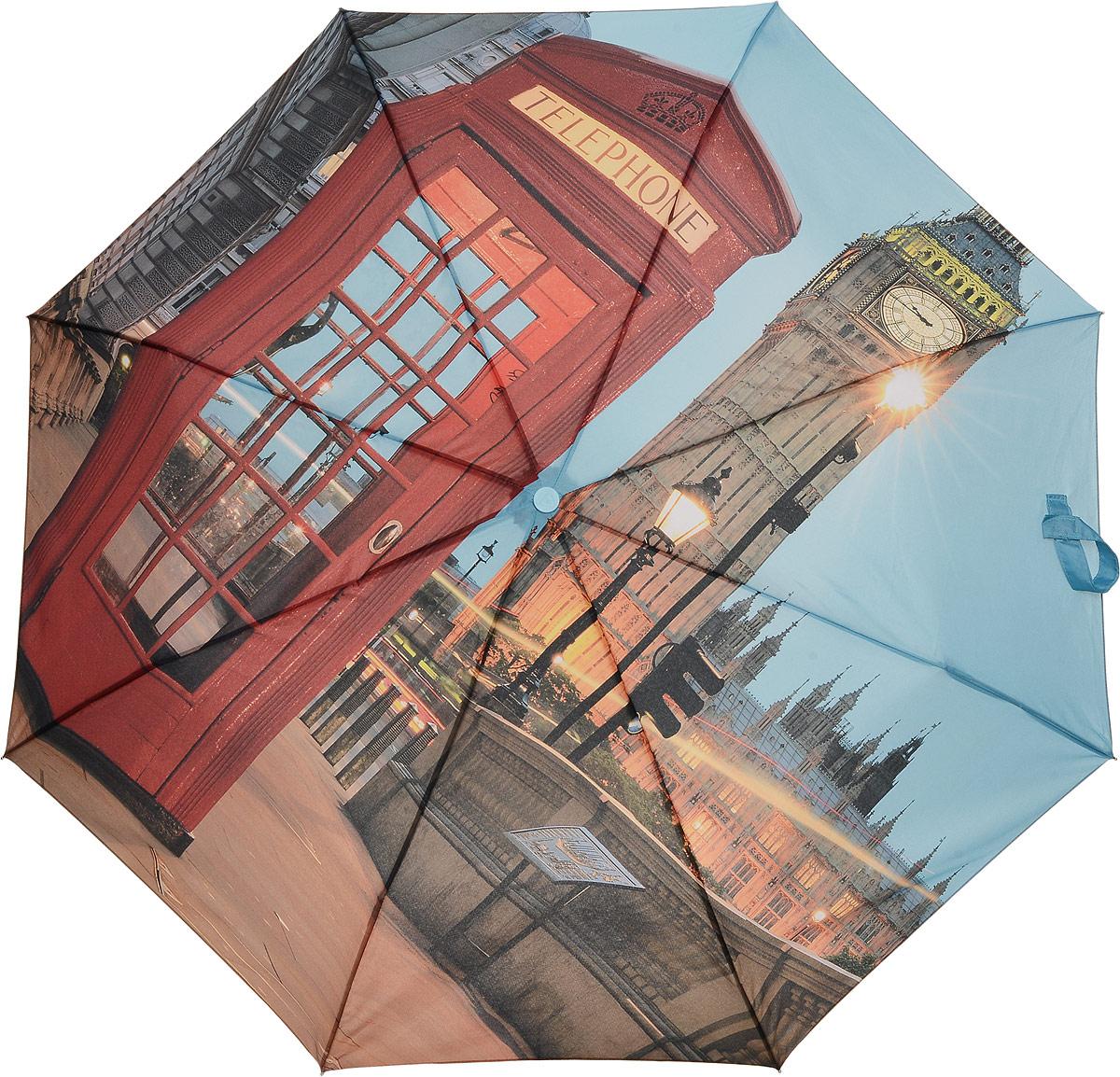 Зонт женский Fulton, механический, 3 сложения, цвет: мультиколор. L354-3348Колье (короткие одноярусные бусы)Стильный механический зонт Fulton имеет 3 сложения, даже в ненастную погоду позволит вам оставаться стильной. Легкий, но в тоже время прочный алюминиевый каркас состоит из восьми спиц с элементами из фибергласса. Купол зонта выполнен из прочного полиэстера с водоотталкивающей пропиткой. Рукоятка закругленной формы, разработанная с учетом требований эргономики, выполнена из каучука. Зонт имеет механический способ сложения: и купол, и стержень открываются и закрываются вручную до характерного щелчка.