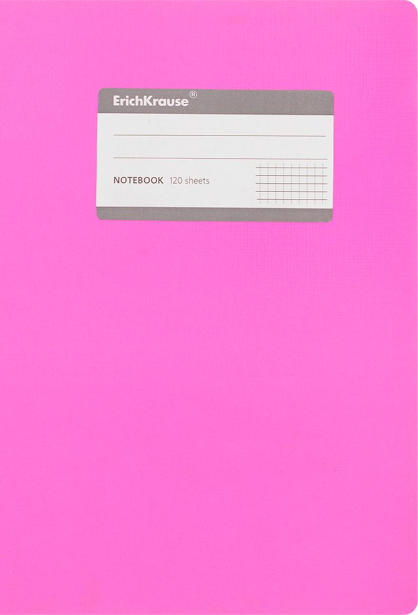 Erich Krause Тетрадь Fluor 120 листов в клетку цвет розовый72523WDОбложка тетради Erich Krause Fluor выполнена из гибкого картона, что позволит сохранить ее в аккуратном состоянии на протяжении всего времени использования.На обложке имеется титульная этикетка для записи персональных данных. Внутренний блок тетради, соединенный с помощью клея, состоит из 120 листов белой бумаги. Стандартная линовка в клетку черного цвета без полей.
