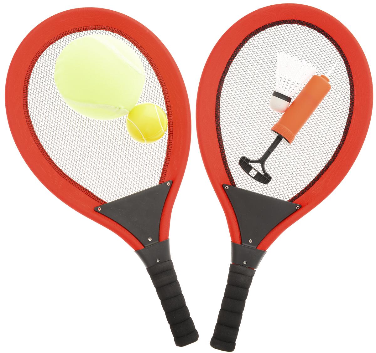 ABtoys Игровой набор Бадминтон и теннис цвет красный черный