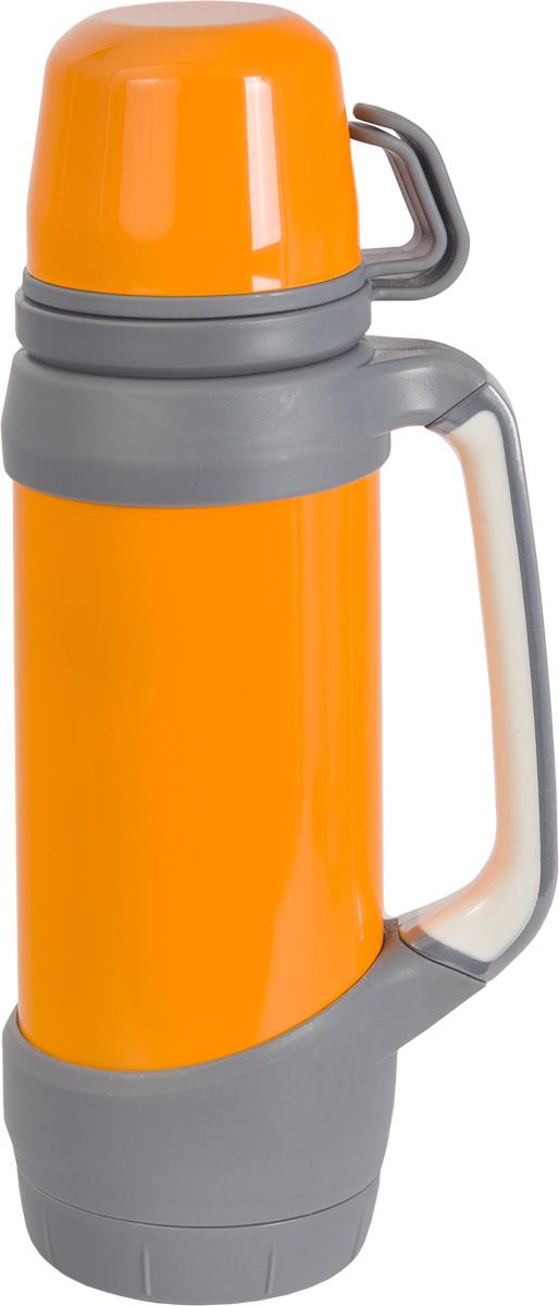 Термос Indiana Classic, с двумя чашками, цвет: оранжевый, серый, 1 л320400000Термос Indiana Classic выполнен из высококачественного пластика и оснащен колбой из нержавеющей стали. В комплекте с термосом - две чашки разных размеров. Завинчивающаяся герметичная крышка предохранит от проливаний. Такой термос незаменим в походах и выездах на природу.