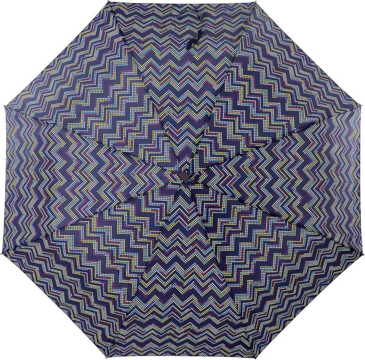 Зонт женский Artrain, механический, 3 сложения, цвет: темно-фиолетовый, темно-синий. 3515-4363Серьги с подвескамиКлассический женский зонт Artrain в 3 сложения, с механической системой открытия и закрытия, даже в ненастную погоду позволит вам оставаться стильной и элегантной. Удобная ручка выполнена из пластика. Купол зонта изготовлен из прочного полиэстера. Модель зонта выполнена в стандартном размере, оснащена системой антиветер. На рукоятке для удобства есть небольшой шнурок, позволяющий надеть зонт на руку тогда, когда это будет необходимо. К зонту прилагается чехол.Этот стильный аксессуар поместится практически в любую женскую сумочку благодаря своим небольшим размерам.