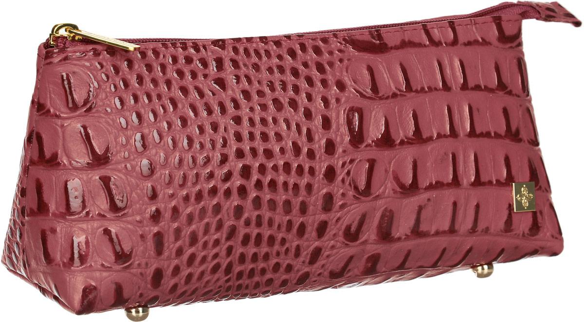 Косметичка Dimanche Loriсata Rouge, цвет: бордовый. 549/8MX3024820_WM_SHL_010Косметичка Dimanche выполнена из натуральной кожи с тиснением под рептилию и оформлена металлической пластинкой с логотипом бренда. Косметичка оснащено металлическими ножками, которые предотвратят повреждение дна. Изделие закрывается с помощью застежки-молнии. Внутри расположено одно вместительное отделение.