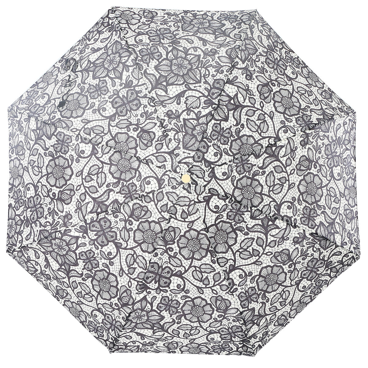 Зонт женский Artrain, цвет: черный, кремовый. 3915-486345100033/18076/3500NКлассический женский зонт в 3 сложения полный автомат. Удобная ручка выполнена из пластика. Модель зонта выполнена в стандартном размере, оснащена системой Антиветер. Этот стильный аксессуар поместится практически в любую женскую сумочку благодаря своим небольшим размерам.