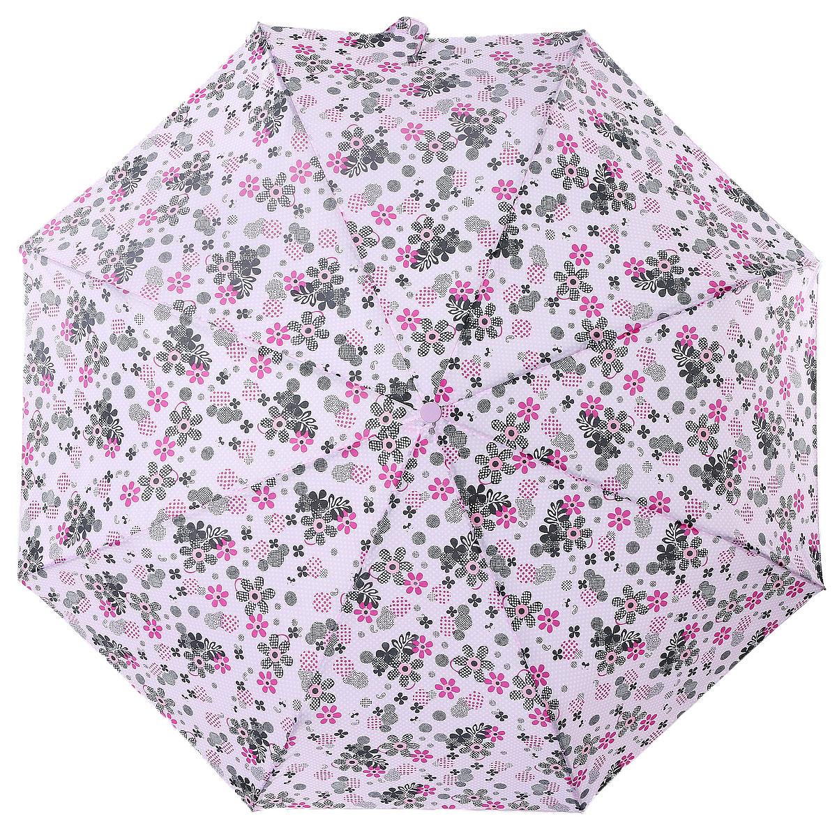Зонт женский Artrain, автоматический, 3 сложения, цвет: розовый, черный. 3915-5008Бусы-ошейникКлассический женский зонт Artrain в 3 сложения, с автоматической системой открытия и закрытия, даже в ненастную погоду позволит вам оставаться стильной и элегантной. Удобная ручка выполнена из пластика. Купол зонта изготовлен из прочного полиэстера. Модель зонта выполнена в стандартном размере, оснащена системой антиветер. На рукоятке для удобства есть небольшой шнурок, позволяющий надеть зонт на руку тогда, когда это будет необходимо. К зонту прилагается чехол.Этот стильный аксессуар поместится практически в любую женскую сумочку благодаря своим небольшим размерам.