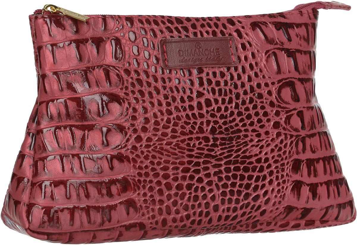 Косметичка Dimanche Loricata Rouge, цвет: темно-красный. 099B16-11416Косметичка Dimanche выполнена из натуральной кожи с тиснением под рептилию и оформлена фирменной нашивкой с названием бренда. Изделие закрывается с помощью застежки-молнии. Внутри расположено одно вместительное отделение.
