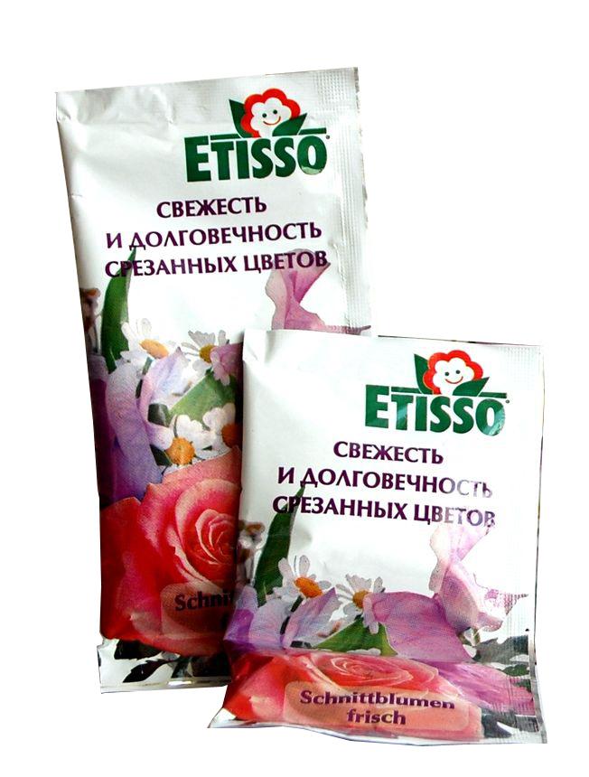 Средство Etisso, для долговечности любых свежесрезанных цветов, 20 мл1236-841Универсальное средство Etisso предназначено для сохранения свежести и долговечности любых срезанных растений. Питательные вещества в растворе находятся в легкоусвояемой форме, что стимулирует питание растения, а стабилизаторы и консерванты предотвращают их поникание, позволяют сохранить чудесное великолепие и продлить период свежести срезанных растений в 2-3 раза дольше! Вода остается прозрачной и без запаха.