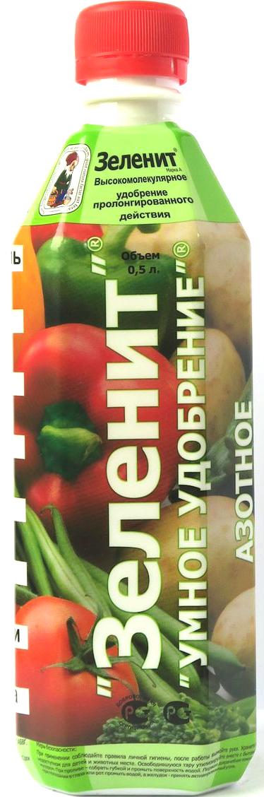 Жидкое удобрение Зеленит, минеральное, полимерное, азотное, для первой половины летаMC-212ЗЕЛЕНИТ УМНОЕ УДОБРЕНИЕ - корневая и листовая подкормка для первой половины летаСоздана для личных подсобных хозяйств и используется: для рассады, овощей, картофеля, плодовых деревьев, ягодных кустарников, земляники, газонов, цветочно-декоративных и других растений приусадебных участков. ЗЕЛЕНИТ УМНОЕ УДОБРЕНИЕ - инструмент управления урожаем:•полимер в составе удобрения задерживает питательные вещества на листьях и у корней, поэтому ЗЕЛЕНИТ отдает их растениям только по мере необходимости•сохраняет естественное плодородие почвы•уменьшает количество вносимых минеральных удобрений Способ применения: Листовая подкормка. Добавьте 100 мл (0,5 стакана) удобрения в 10 литровое ведро воды и опрыскайте полученным раствором из лейки или пульверизатора растения из расчета 1,5-3 литра на 10 м квадратных посевной площади. Корневая подкормка. Добавьте 10-20 мл (1 столовая ложка) удобрения на 10 литров воды и поливайте прикорневую зону растения из расчета 2-10 литров рабочего раствора на 1 м квадратный посевной площади. Сроки обработки •первая в начальную стадию роста растений•последующие - 1-3 раза в течении вегетационного периода с интервалом 10-12 дней до фазы бутонизации, образования завязей, формирования клубней.