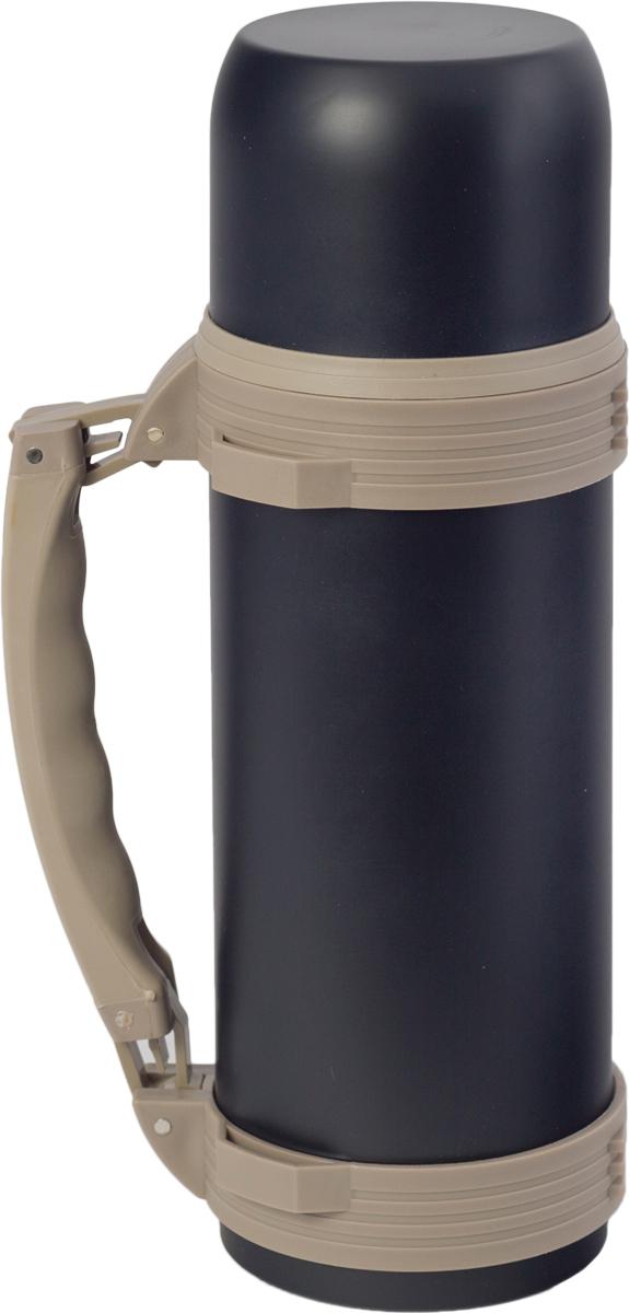 Термос Indiana WD 3605, со складной ручкой, цвет: черный, бежевый, 1,2 л320400037Термос Indiana WD 3605, выполненный из нержавеющей стали и пластика, позволяет сохранять напитки горячими и холодными длительное время. Термос надежно закрывается пластиковой пробкой, которая снабжена кнопкой для дозирования напитков, позволяющая наливать жидкости без отвинчивания. Прочная эргономичная складная ручка делает использование термоса легким и удобным.Термос Indiana WD 3605 отлично подойдет для хранения и транспортировки жидкостей.