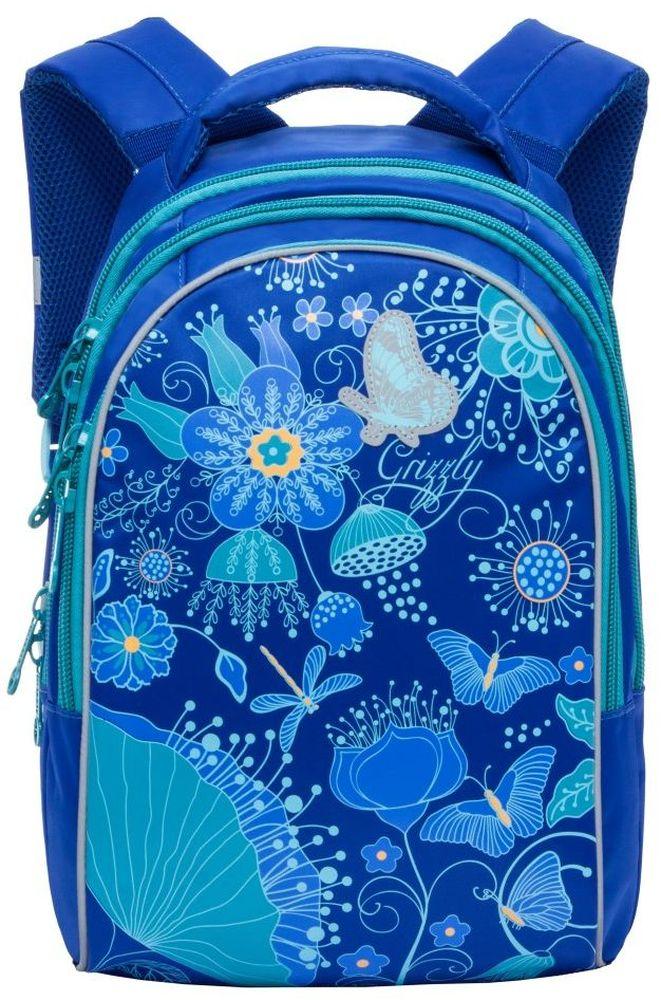Grizzly Рюкзак школьный цвет синий RG-767-372523WDРюкзак молодежный, три отделения, внутренний карман на молнии, внутренний карман-пенал для карандашей, жесткая анатомическая спинка, мягкая укрепленная ручка, укрепленные лямки, светоотражающие элементы с четырех сторон.