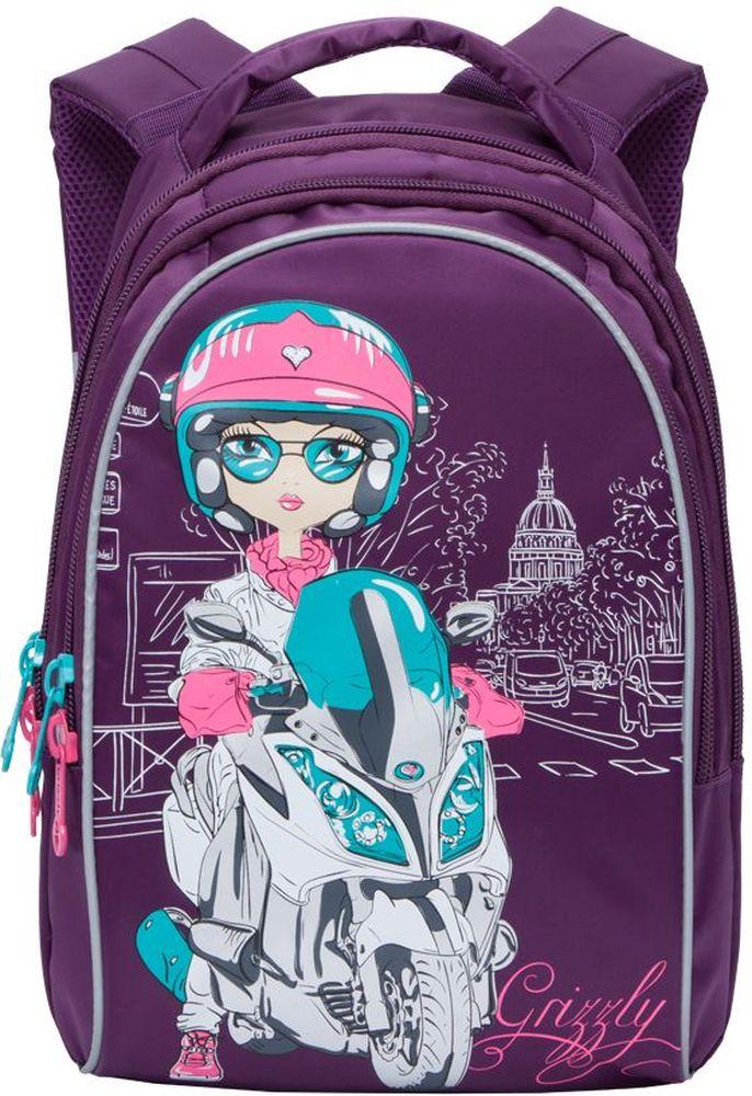 Grizzly Рюкзак школьный цвет фиолетовый RG-768-372523WDРюкзак молодежный, три отделения, внутренний карман на молнии, внутренний карман-пенал для карандашей, жесткая анатомическая спинка, мягкая укрепленная ручка, укрепленные лямки, светоотражающие элементы с четырех сторон.