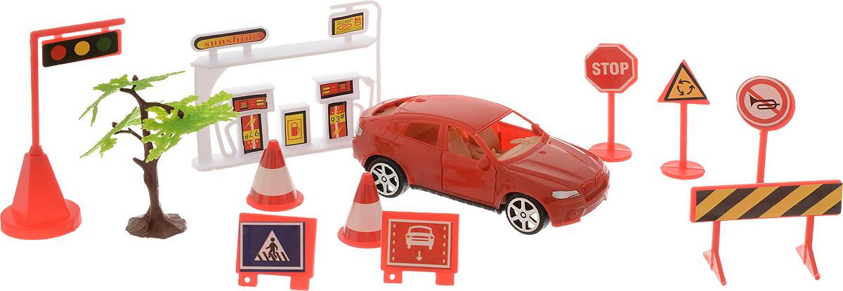 ABtoys Игровой набор Автозаправка цвет красный