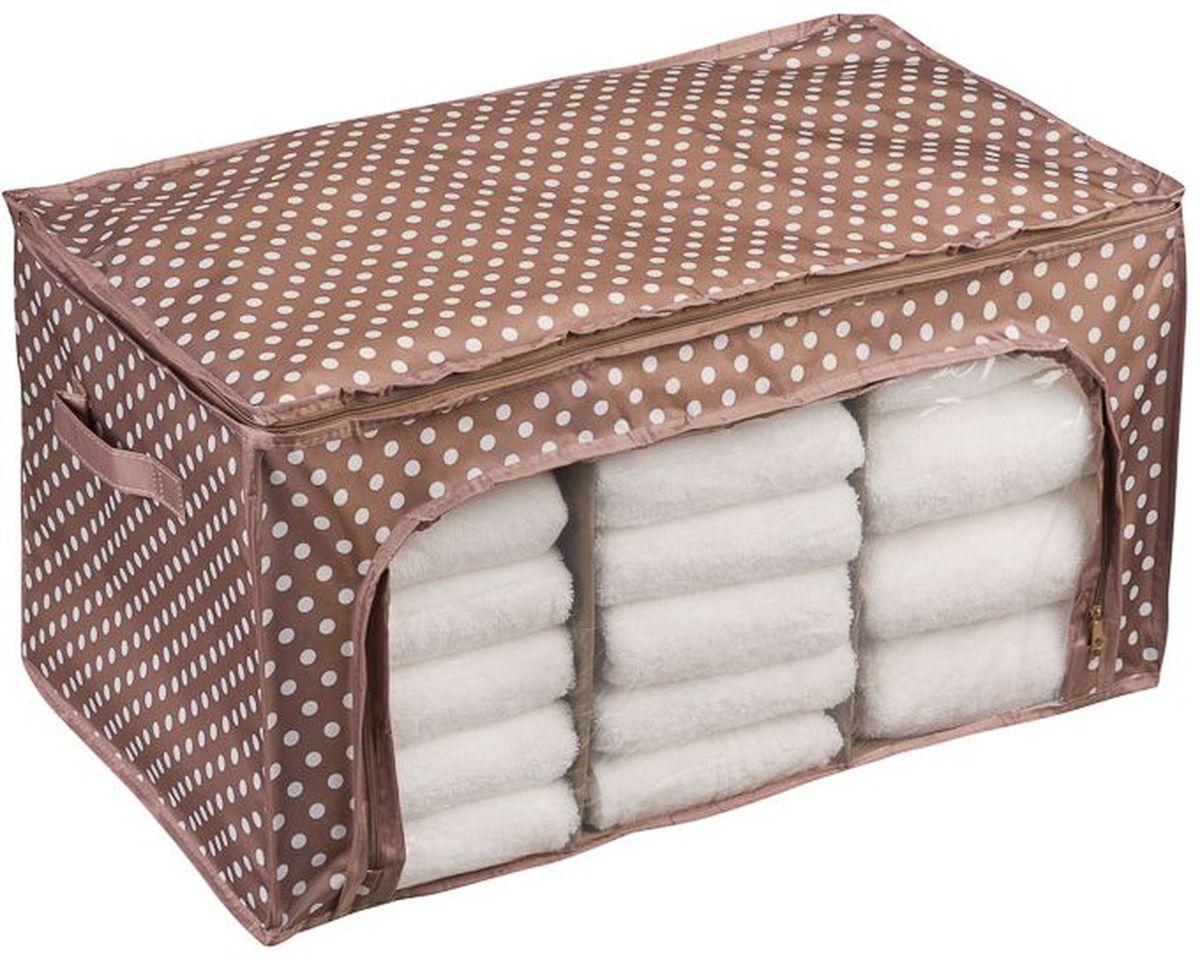 Кофр универсальный Handy Home Полька, 56 х 36 х 30 смESH14Кофр для хранения, в котором удобно хранить одежду, белье и мелкие аксессуары, а также постельные принадлежности. Кофр снабжен прозрачным окошком, что позволяет легко просматривать содержимое. Закрывается на застежку-молнию.
