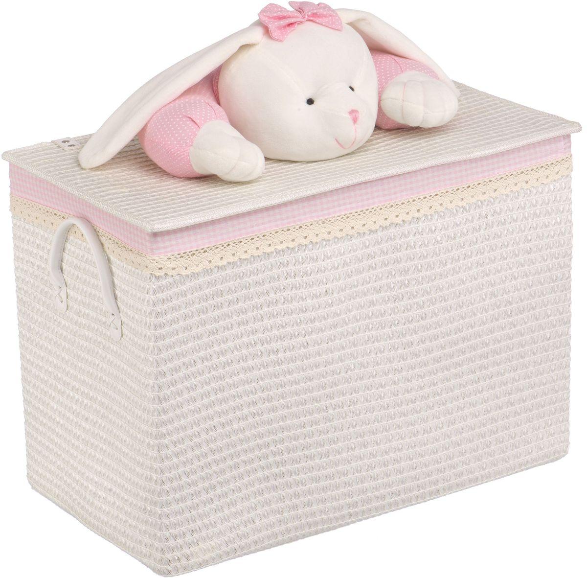 Корзина для белья Natural House Зайчик, цвет: белый, 55 x 32 x 40 см391602Бельевая корзина с игрушкой Зайчик отлично подойдет для детской. Корзина с мягкой игрушкой способна оживить обстановку и создать атмосферу добра и благополучия в любом помещении. В корзине легко и удобно хранить игрушки, белье и другие предметы.