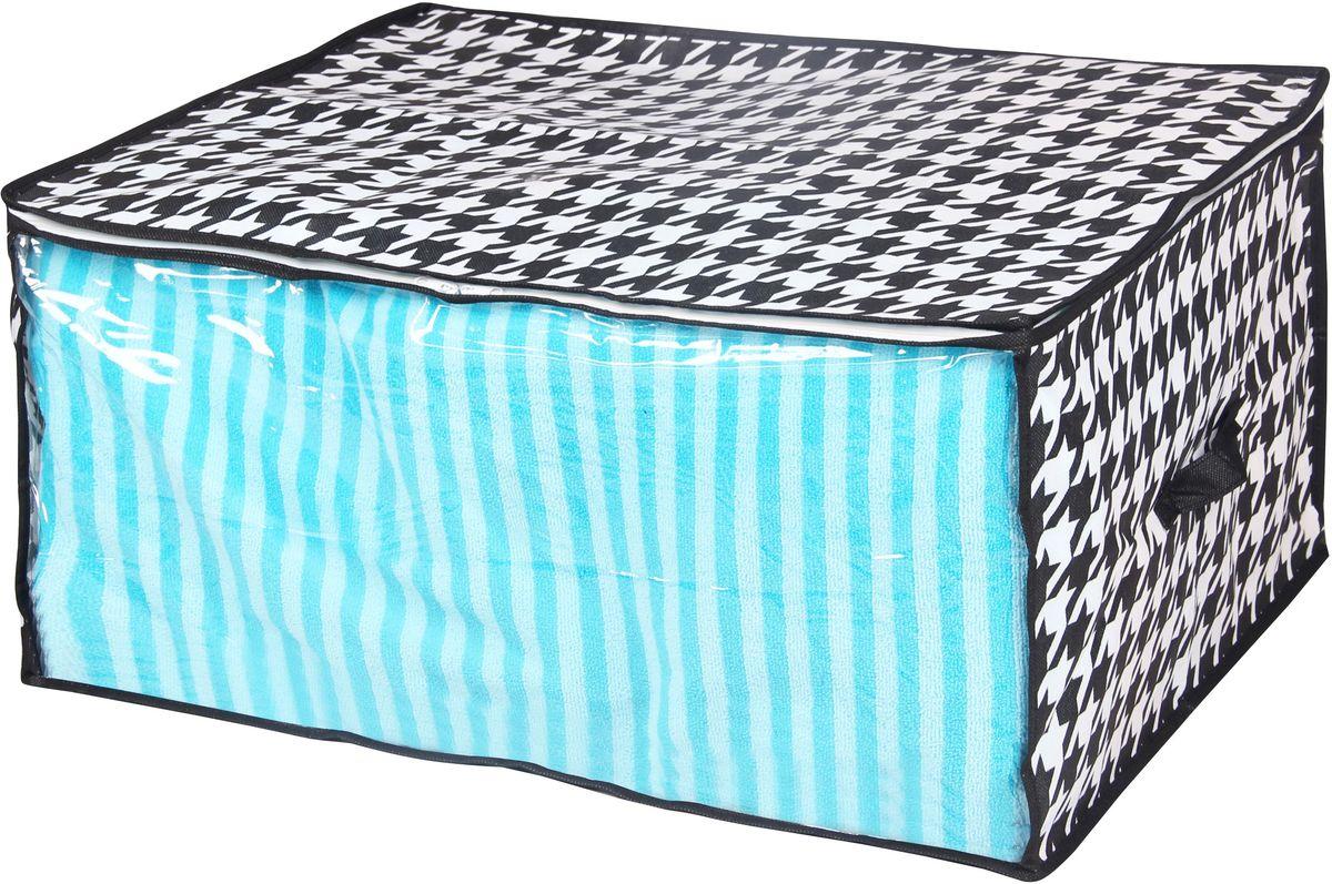 Кофр для хранения Handy Home Пепита, 60 х 45 х 30 смUC-47Кофр для хранения, в котором удобно хранить одежду, белье и мелкие аксессуары, а также постельные принадлежности. Кофр снабжен прозрачным окошком, что позволяет легко просматривать содержимое. Закрывается на застежку-молнию.