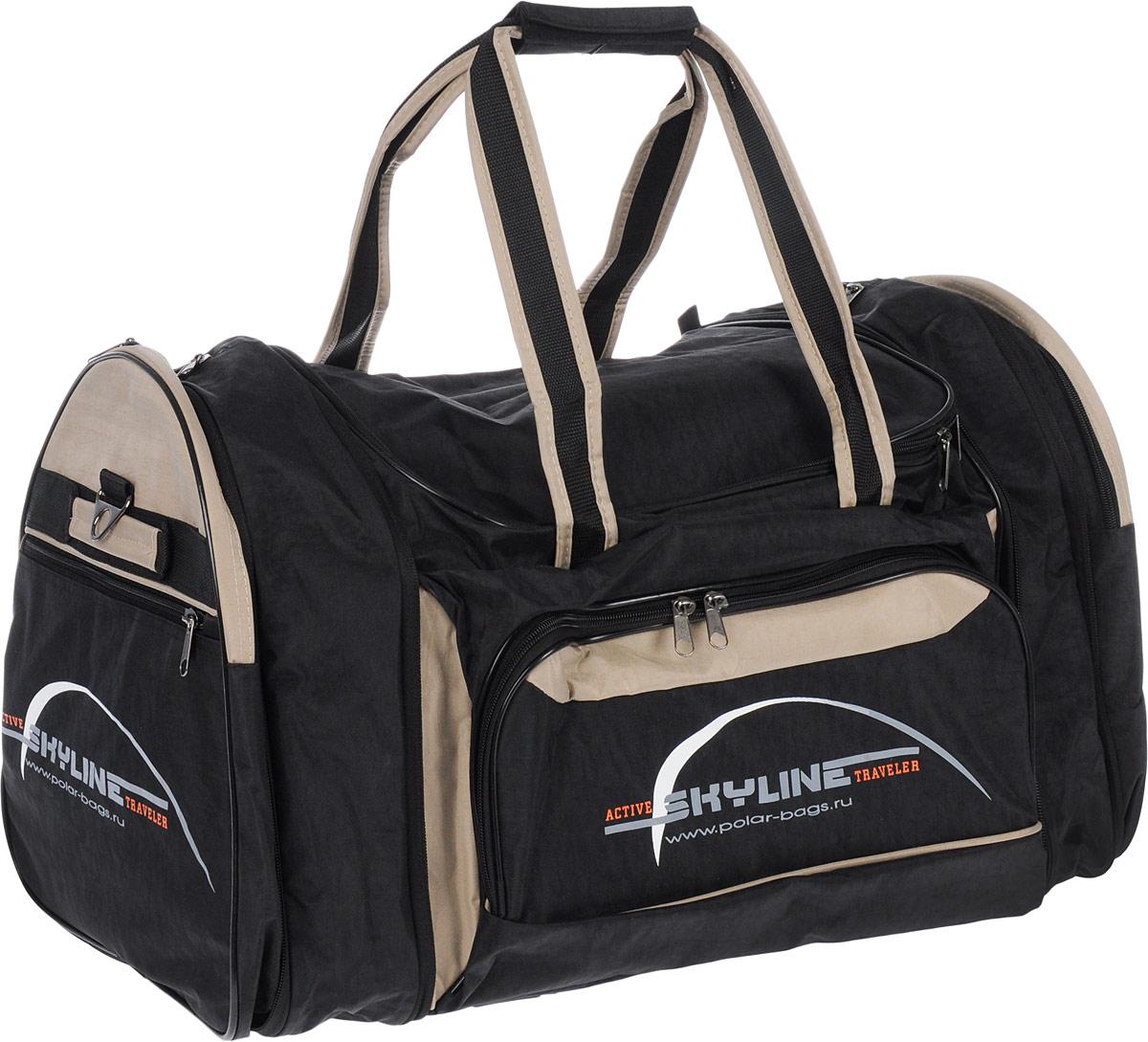 Сумка спортивная Polar, цвет: черный, бежевый, 66,5 л. 6069.1MM-610-3/2Материал – полиэстер с водоотталкивающей пропиткой. Вместительная спортивная сумка среднего размера. Внутри - один отдел, два боковых кармана и карман на передней части. В комплект входит съемный плечевой ремень. Эта сумка идеально подойдет для спорта и отдыха. Спортивная сумка для ваших вещей. Сумка раздвижная ,на 5 см по бокам сумки.