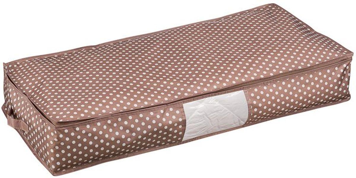 Кофр для одеял Handy Home Полька, 90 х 45 х 15 смБрелок для ключейКофр для хранения удлиненный. В таком кофре удобно хранить постельные принадлежности, сезонную одежду и другое. Кофр снабжен прозрачным окошком, что позволяет легко просматривать содержимое. Закрывается на застежку-молнию.