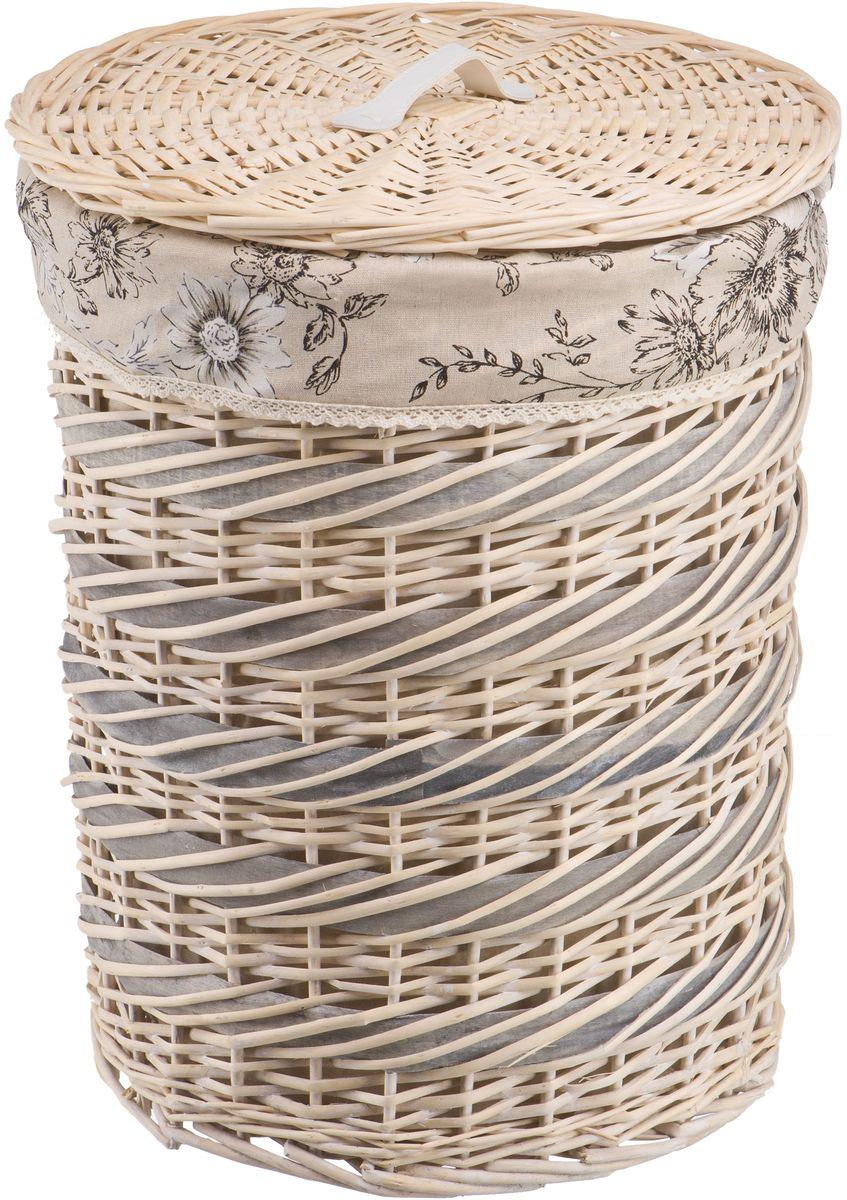 Корзина для белья Natural House Цветы. Фиалка, цвет: молочный, 45 х 45 х 55 см68/5/3Плетеная бельевая корзина круглой формы с крышкой станет прекрасным дополнением интерьера. Чехол из ткани легко снимается и стирается. При изготовлении корзины используются только натуральные материалы. Поверхность обработана водоотталкивающим и антибактериальным покрытием, поэтому корзину можно использовать в ванных комнатах. Материалы изготовления корзины: лоза ивы, ткань.