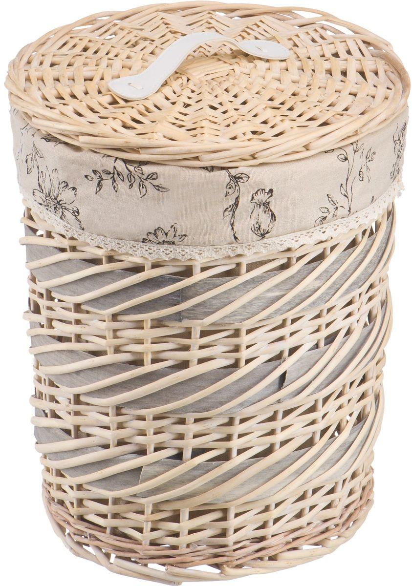 Корзина для белья Natural House Цветы. Фиалка, цвет: молочный, 31 х 31 х 36 см391602Плетеная бельевая корзина круглой формы с крышкой станет прекрасным дополнением интерьера. Чехол из ткани легко снимается и стирается. При изготовлении корзины используются только натуральные материалы. Поверхность обработана водоотталкивающим и антибактериальным покрытием, поэтому корзину можно использовать в ванных комнатах. Материалы изготовления корзины: лоза ивы, ткань.
