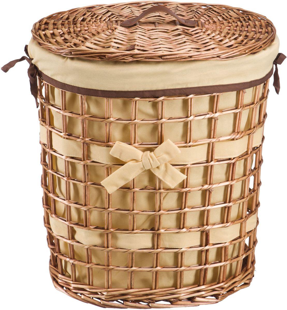 Корзина для белья Natural House Бантик, цвет: коричневый, 49 х 36 х 55 см391602Бельевая корзина из лозы ивы не только удобна, практична, но и прекрасно выглядит. Овальная форма с оригинальным декором в виде банта украсит любое пространство. Высокое качество и натуральные материалы гармонично сочетаются и создают в доме уют и теплое настроение. В комплекте с корзиной идет съемный чехол, который легко снимается и стирается.