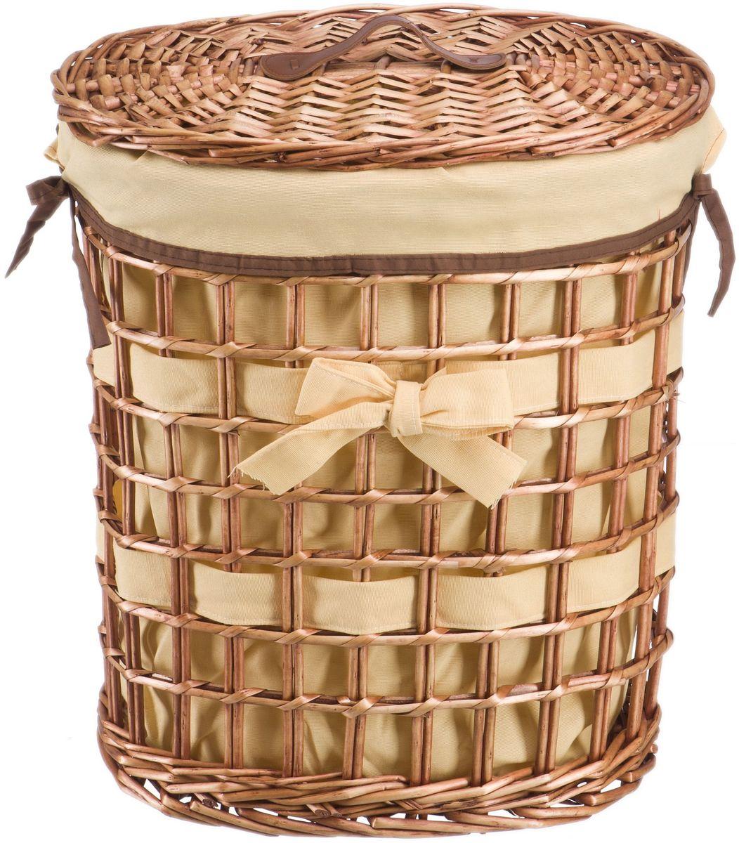 Корзина для белья Natural House Бантик, цвет: коричневый, 39 х 27 х 45 см391602Бельевая корзина из лозы ивы не только удобна, практична, но и прекрасно выглядит. Овальная форма с оригинальным декором в виде банта украсит любое пространство. Высокое качество и натуральные материалы гармонично сочетаются и создают в доме уют и теплое настроение. В комплекте с корзиной идет съемный чехол, который легко снимается и стирается.