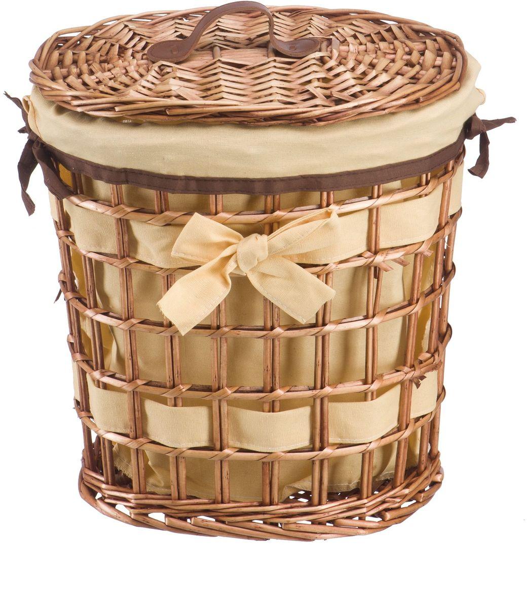 Корзина для белья Natural House Бантик, цвет: коричневый, 32 х 21 х 36 см391602Бельевая корзина из лозы ивы не только удобна, практична, но и прекрасно выглядит. Овальная форма с оригинальным декором в виде банта украсит любое пространство. Высокое качество и натуральные материалы гармонично сочетаются и создают в доме уют и теплое настроение. В комплекте с корзиной идет съемный чехол, который легко снимается и стирается.
