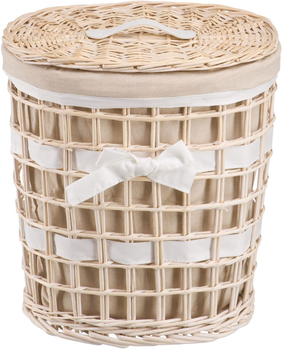Корзина для белья Natural House Бантик, цвет: молочный, 39 х 27 х 45 см391602Плетеная бельевая корзина круглой формы с крышкой станет прекрасным дополнением интерьера. Чехол из ткани легко снимается и стирается. При изготовлении корзины используются только натуральные материалы. Поверхность обработана водоотталкивающим и антибактериальным покрытием, поэтому корзину можно использовать в ванных комнатах. Материалы изготовления корзины: лоза ивы, ткань.
