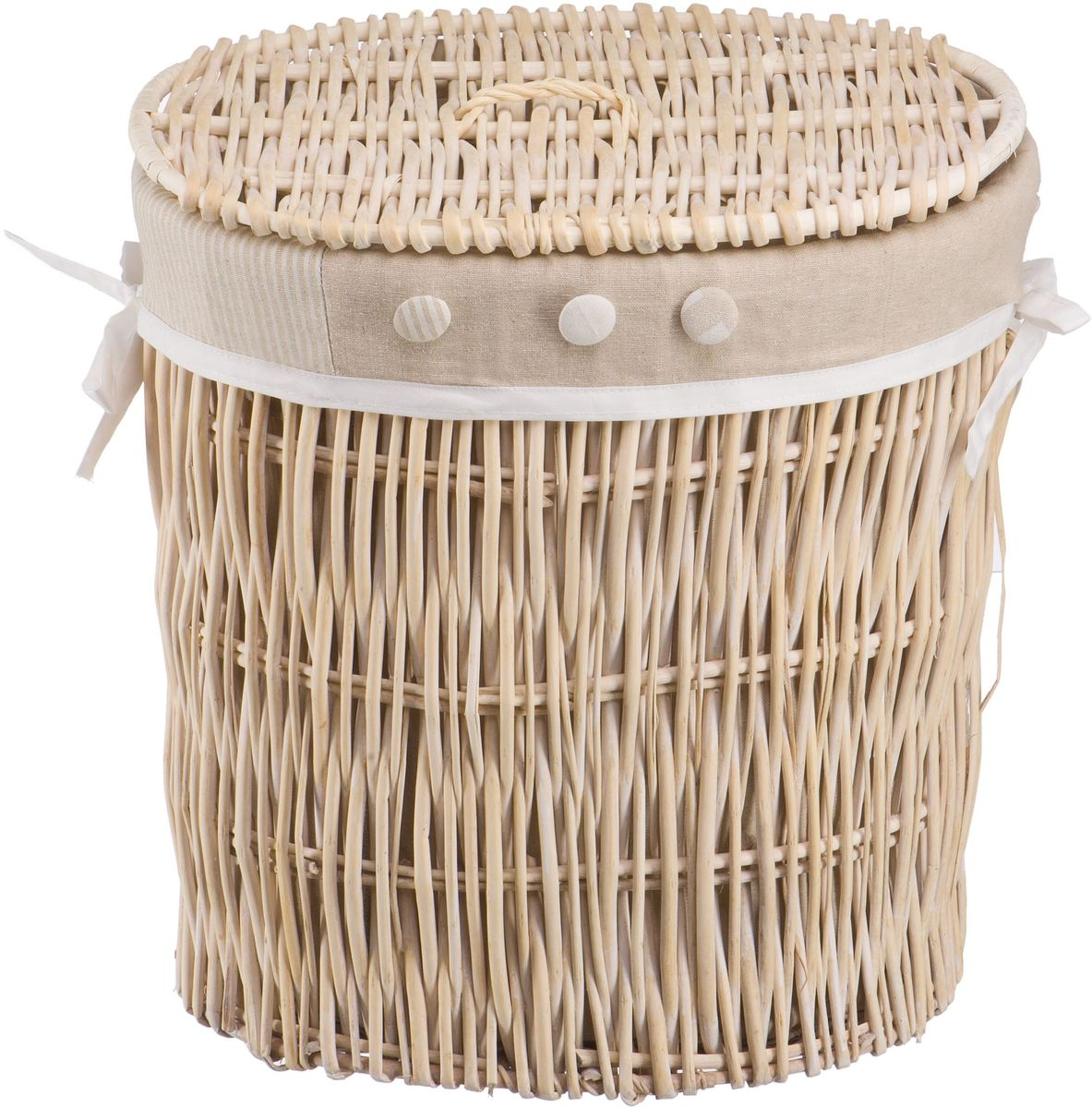 Корзина для белья Natural House Пуговка, цвет: молочный, 43 х 34 х 45 смEW-21 MБельевая корзина Natural House из лозы ивы не только удобна, практична, но и прекрасно выглядит. Высокое качество и натуральные материалы гармонично сочетаются и создают в доме уют и теплое настроение.В комплекте с корзиной идет съемный чехол, который легко снимается и стирается.