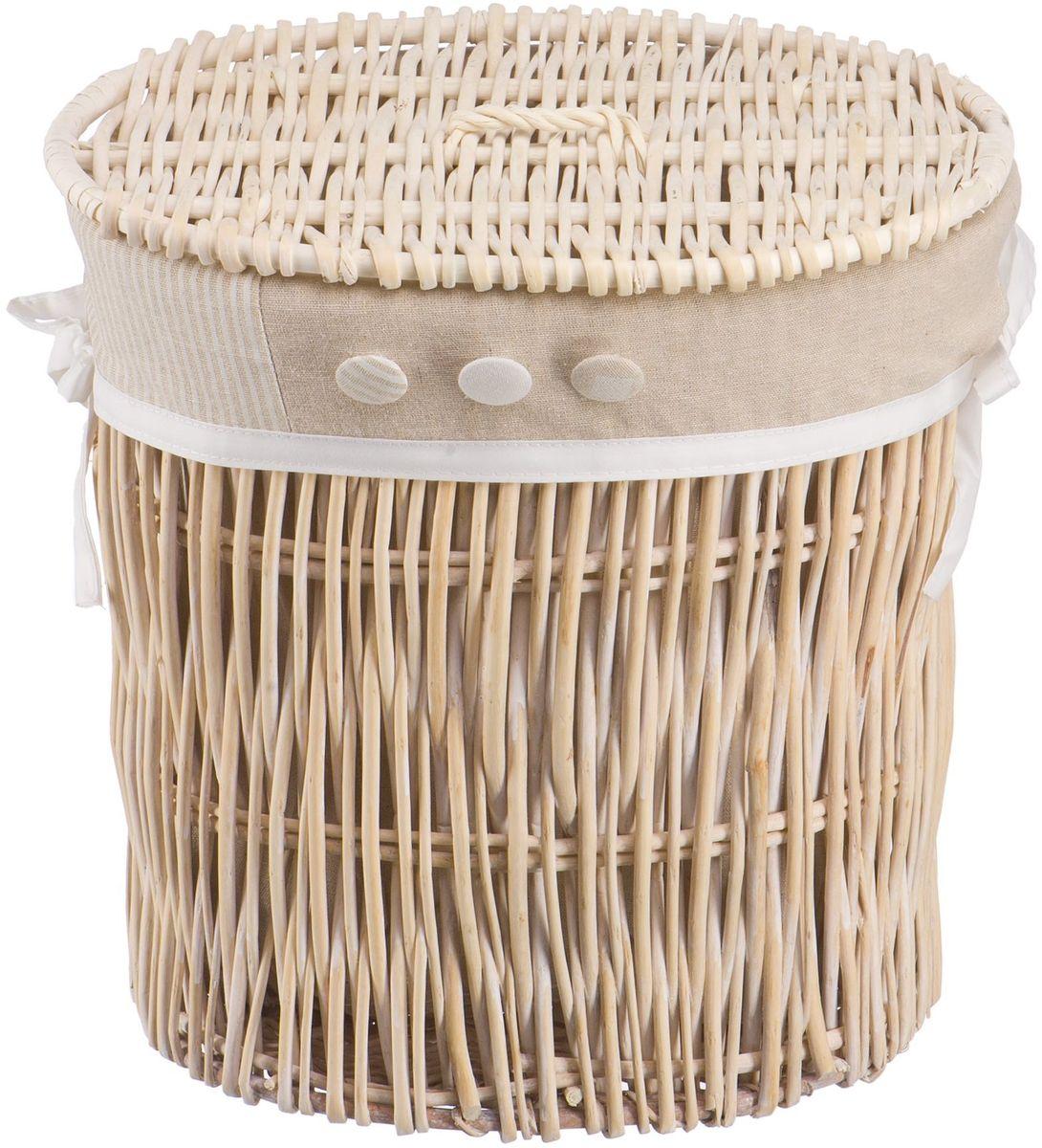 Корзина для белья Natural House Пуговка, цвет: молочный, 36 х 27 х 37 см391602Бельевая корзина из лозы ивы не только удобна, практична, но и прекрасно выглядит. Высокое качество и натуральные материалы гармонично сочетаются и создают в доме уют и теплое настроение. В комплекте с корзиной идет съемный чехол, который легко снимается и стирается.