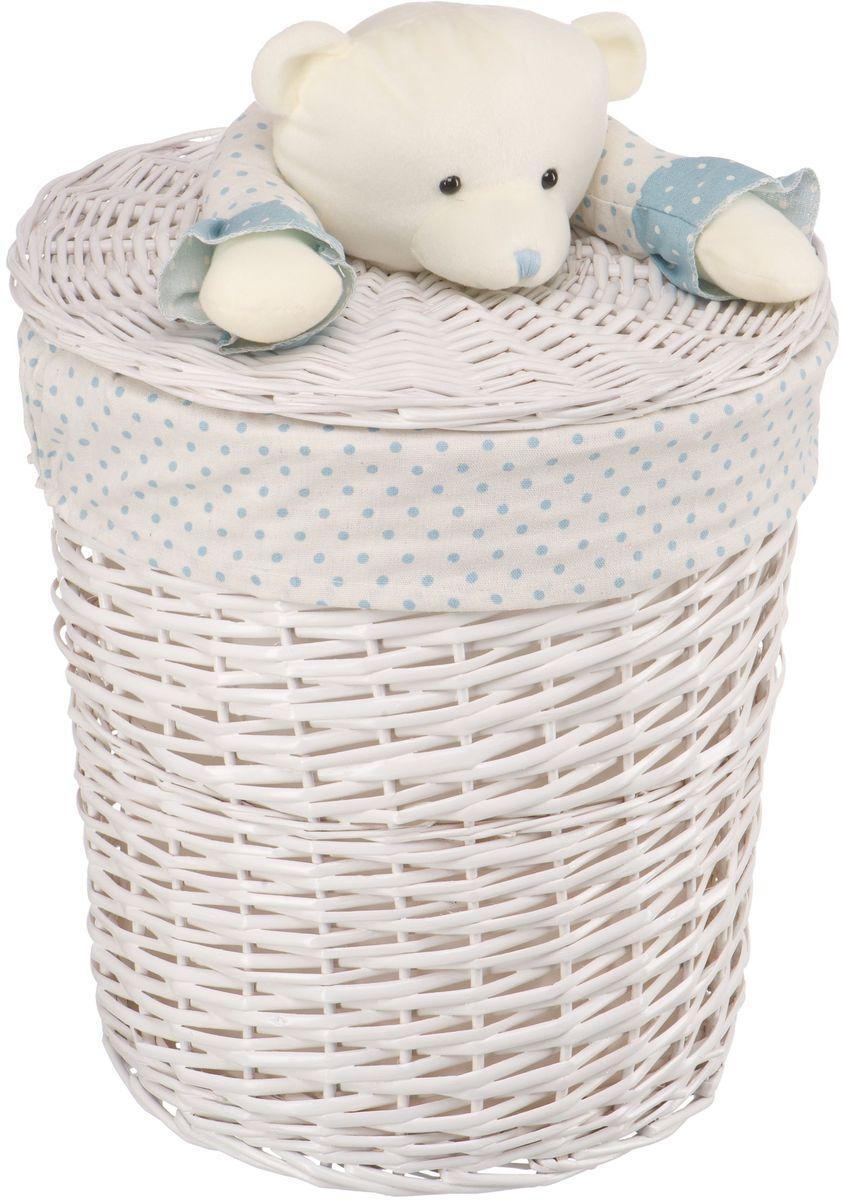 Корзина для белья Natural House Медвежонок синий, цвет: молочный, 37 х 37 x 40 см68/5/3Бельевая корзина с игрушкой Медвежонок отлично подойдет для детской. Корзина с мягкой игрушкой способна оживить обстановку и создать атмосферу добра и благополучия в любом помещении. В корзине легко и удобно хранить игрушки, белье и другие предметы.