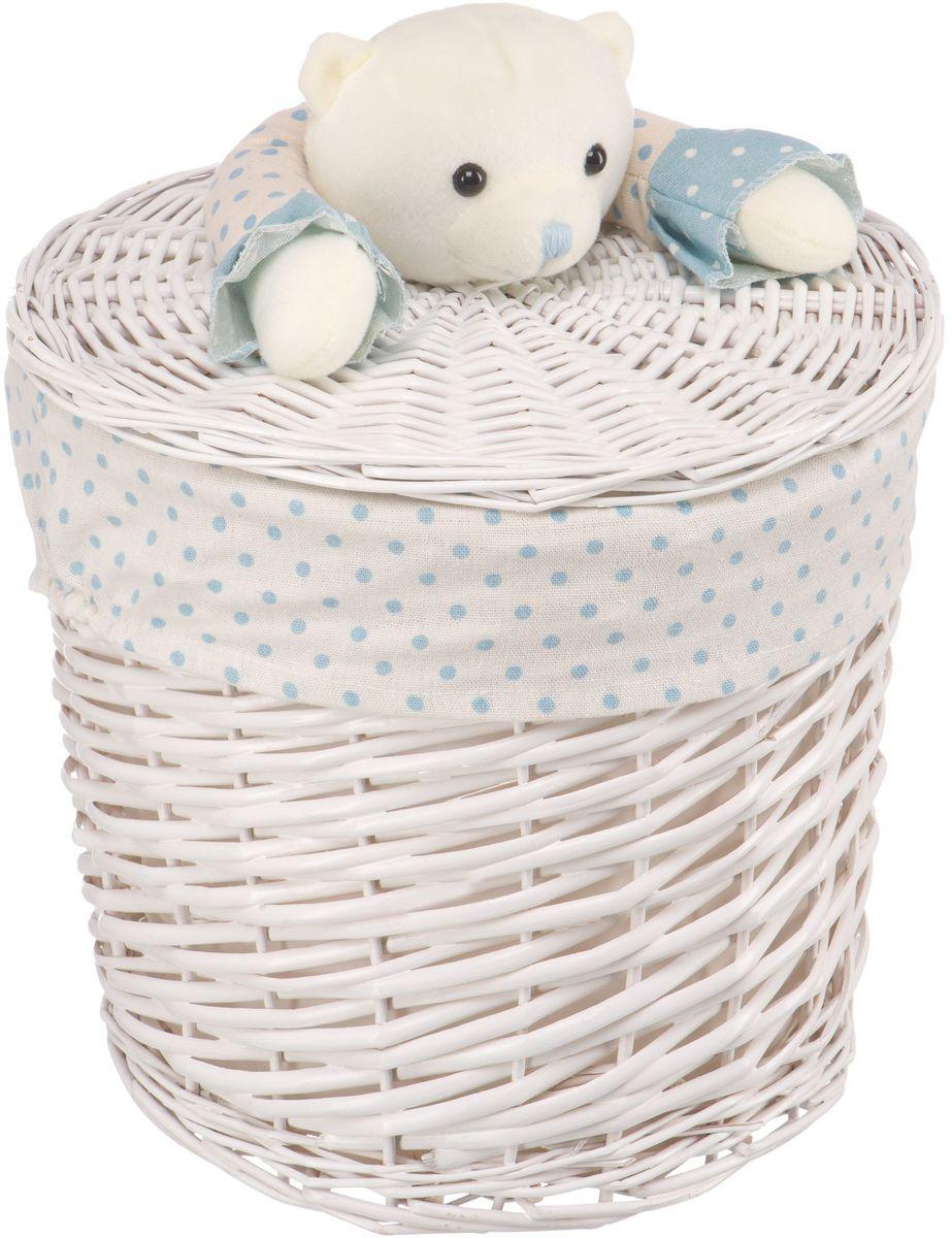 Корзина для белья Natural House Медвежонок синий, цвет: молочный, 29 х 29 x 28 см68/5/3Бельевая корзина с игрушкой Медвежонок отлично подойдет для детской. Корзина с мягкой игрушкой способна оживить обстановку и создать атмосферу добра и благополучия в любом помещении. В корзине легко и удобно хранить игрушки, белье и другие предметы.