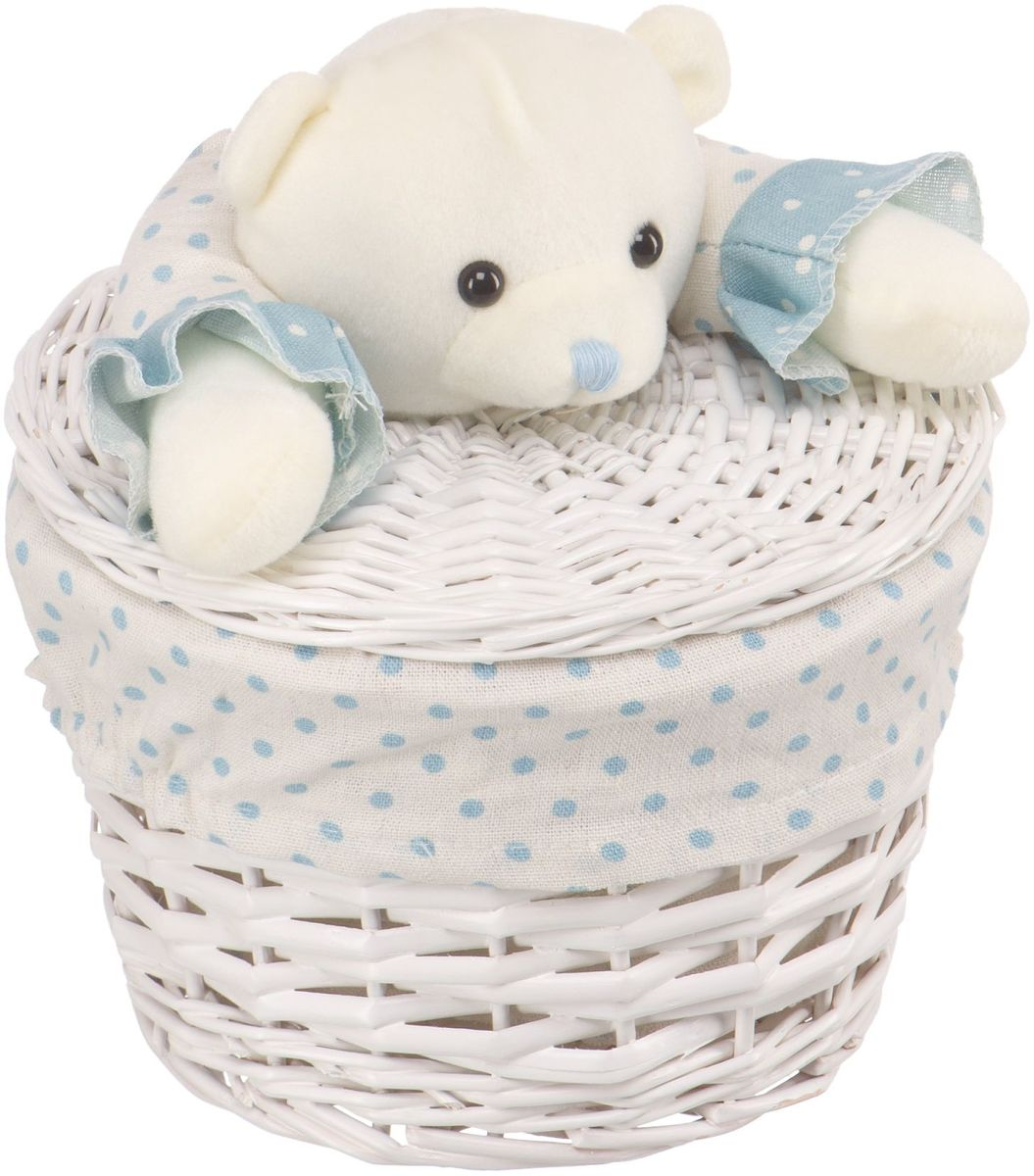 Корзина для белья Natural House Медвежонок синий, цвет: молочный, 21 х 21 x 16 смEW-33 XS0