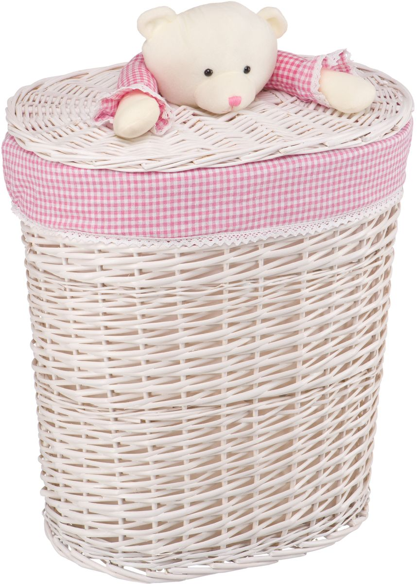 Корзина для белья Natural House Медвежонок розовый, цвет: молочный, 49 x 37 x 55 см68/5/3Бельевая корзина с игрушкой Медвежонок отлично подойдет для детской. Корзина с мягкой игрушкой способна оживить обстановку и создать атмосферу добра и благополучия в любом помещении. В корзине легко и удобно хранить игрушки, белье и другие предметы.