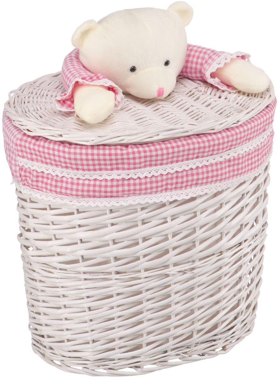 Корзина для белья Natural House Медвежонок, цвет: молочный, розовый, 41 x 29 x 40 см68/5/4Бельевая корзина Natural House с игрушкой Медвежонок отлично подойдет для детской. Корзина с мягкой игрушкой способна оживить обстановку и создать атмосферу добра и благополучия в любом помещении. В корзине легко и удобно хранить игрушки, белье и другие предметы.