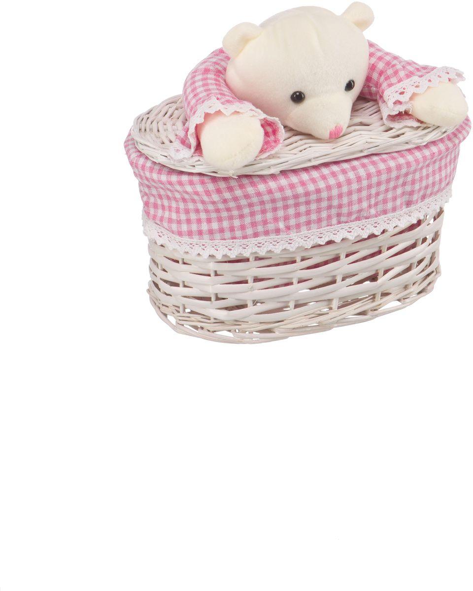 Корзина для белья Natural House Медвежонок розовый, цвет: молочный, 26 x 15 x 16 см68/5/3Бельевая корзина с игрушкой Медвежонок отлично подойдет для детской. Корзина с мягкой игрушкой способна оживить обстановку и создать атмосферу добра и благополучия в любом помещении. В корзине легко и удобно хранить игрушки, белье и другие предметы.