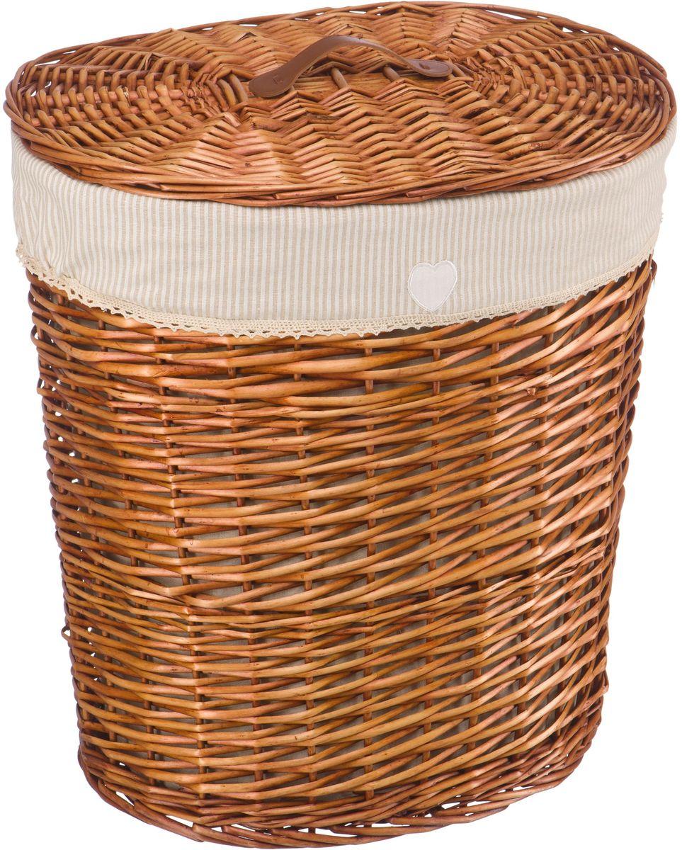 Корзина для белья Natural House Полоска, цвет: коричневый, 48 x 36 x 55 см68/5/4Бельевая корзина Natural House из лозы ивы не только удобна, практична, но и прекрасно выглядит. Высокое качество и натуральные материалы гармонично сочетаются и создают в доме уют и теплое настроение.В комплекте с корзиной идет съемный чехол, который легко снимается и стирается.