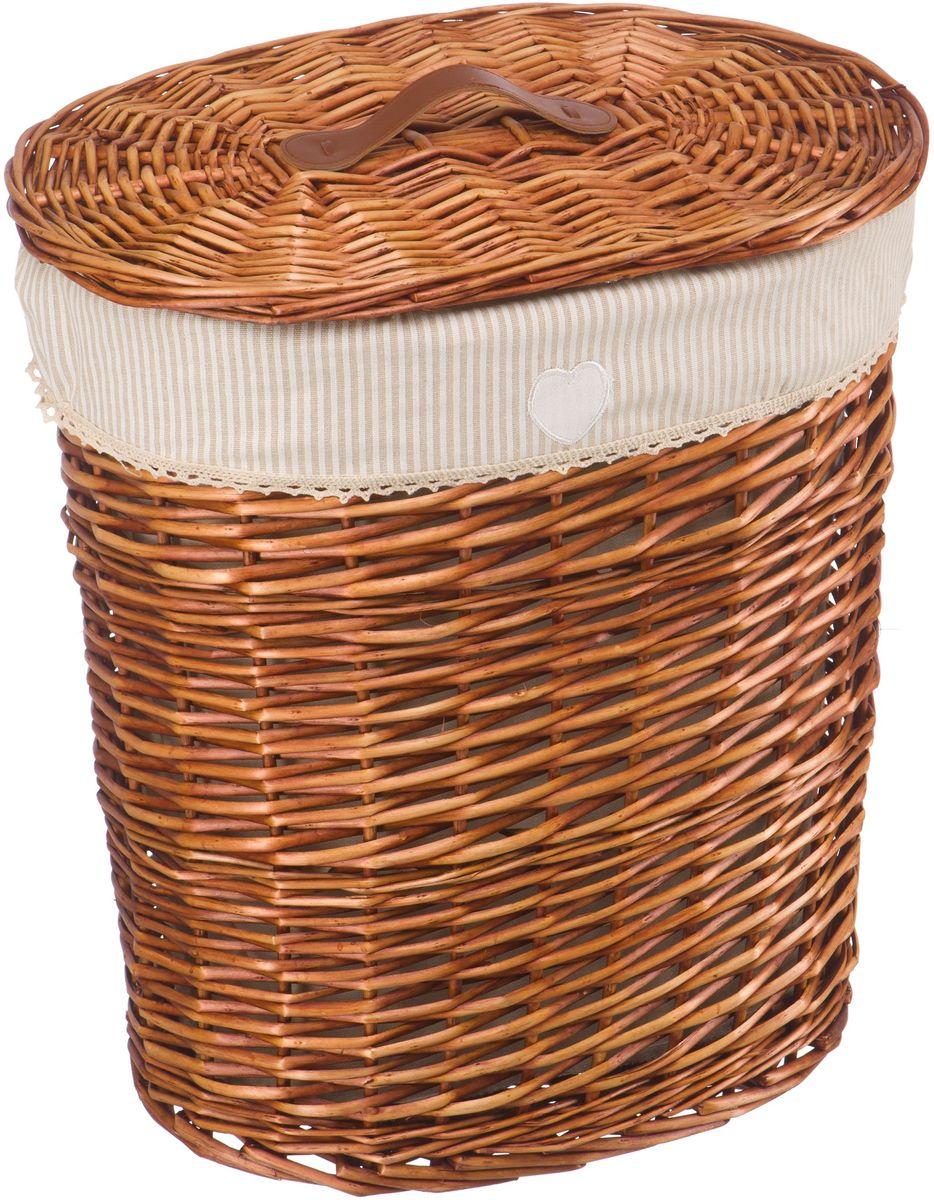 Корзина для белья Natural House Полоска, цвет: коричневый, 39 x 27 x 45 см68/5/3Бельевая корзина из лозы ивы не только удобна, практична, но и прекрасно выглядит. Высокое качество и натуральные материалы гармонично сочетаются и создают в доме уют и теплое настроение. В комплекте с корзиной идет съемный чехол, который легко снимается и стирается.