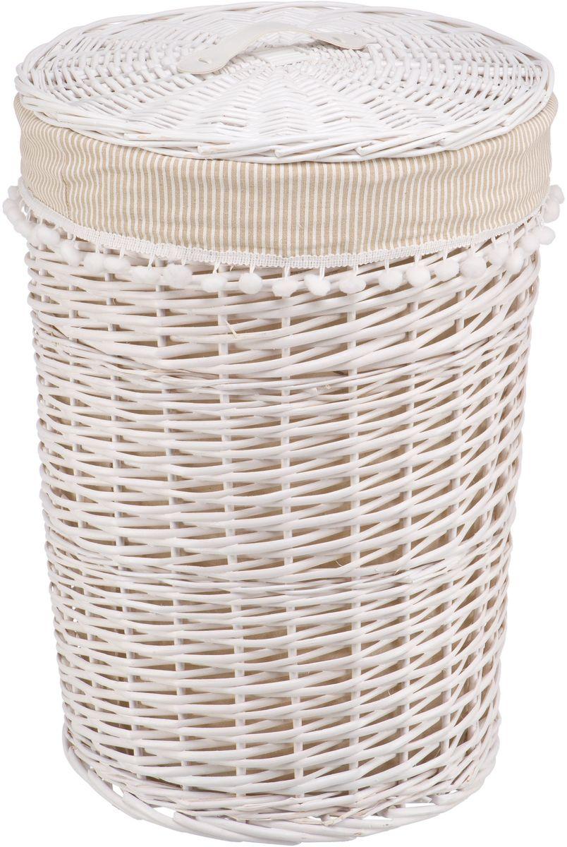Корзина для белья Natural House Колокольчик, цвет: белый, 40 х 40 х 56 смEW-41 LБельевая корзина из лозы ивы не только удобна, практична, но и прекрасно выглядит. Высокое качество и натуральные материалы гармонично сочетаются и создают в доме уют и теплое настроение. В комплекте с корзиной идет съемный чехол, который легко снимается и стирается.