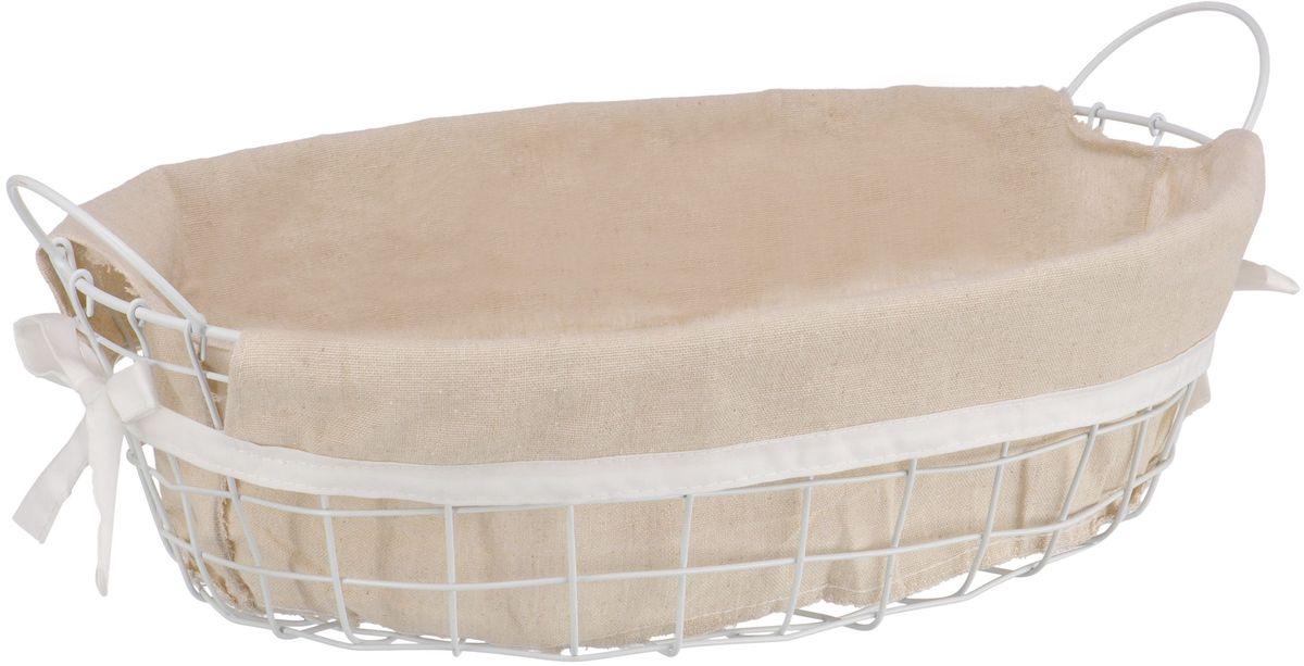 Корзина стеллажная Handy Home Решетка, с ручками, цвет: белый, 42 х 30 х 13 смEW-44 LОвальная стеллажная корзина Handy Home выполнена из металла. Съемный чехол легко снимается и стирается. Корзина предназначена для хранения одежды, продуктов, ванных принадлежностей, книг, украшений и прочих вещей. Наличие ручек позволяет легко переносить корзину.