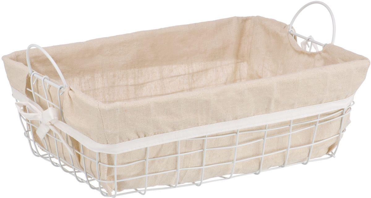 Органайзер для хранения Handy Home Решетка, с ручками, цвет: белый, 38 х 28 х 13 смБрелок для сумкиПрямоугольная стеллажная корзина сделана из металла белого цвета. Съемный чехол легко снимается и стирается. Корзина предназначена для хранения одежды, продуктов, ванных принадлежностей, книг, украшений и прочих вещей. Наличие ручек позволяет легко переносить корзину.