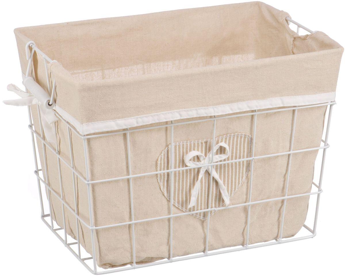 Корзина для белья Handy Home Решетка, открытая, цвет: белый, 41 х 29 х 30 см391602Прямоугольная бельевая корзина сделана из металла белого цвета. В комплекте с корзиной идет съемный чехол с бантиком который легко снимается и стирается. Корзина предназначена для хранения вещей и декоративного оформления помещения.