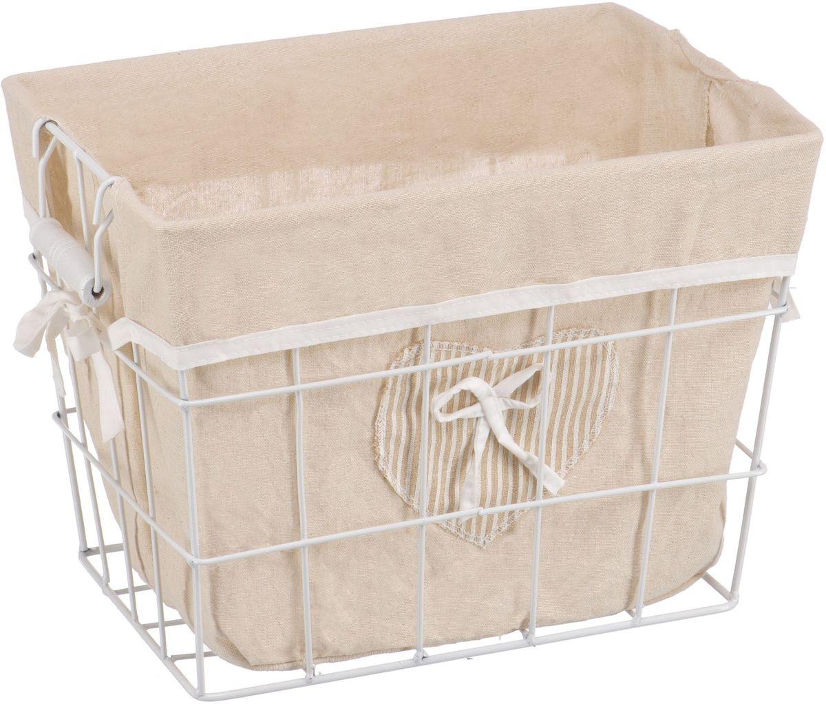 Корзина для белья Handy Home Решетка, открытая, цвет: белый, 35 х 25 х 26 см391602Прямоугольная бельевая корзина сделана из металла белого цвета. В комплекте с корзиной идет съемный чехол с бантиком который легко снимается и стирается. Корзина предназначена для хранения вещей и декоративного оформления помещения.