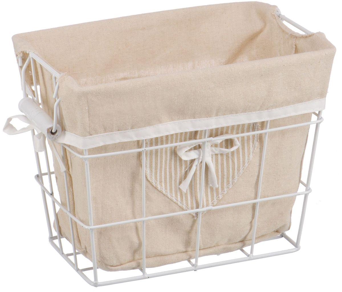 Корзина для белья Handy Home Решетка, открытая, цвет: белый, 29 х 19 х 23 смEW-49 SПрямоугольная бельевая корзина Handy Home сделана из металла. В комплекте с корзиной идет съемный чехол с бантиком который легко снимается и стирается. Корзина предназначена для хранения вещей и декоративного оформления помещения.