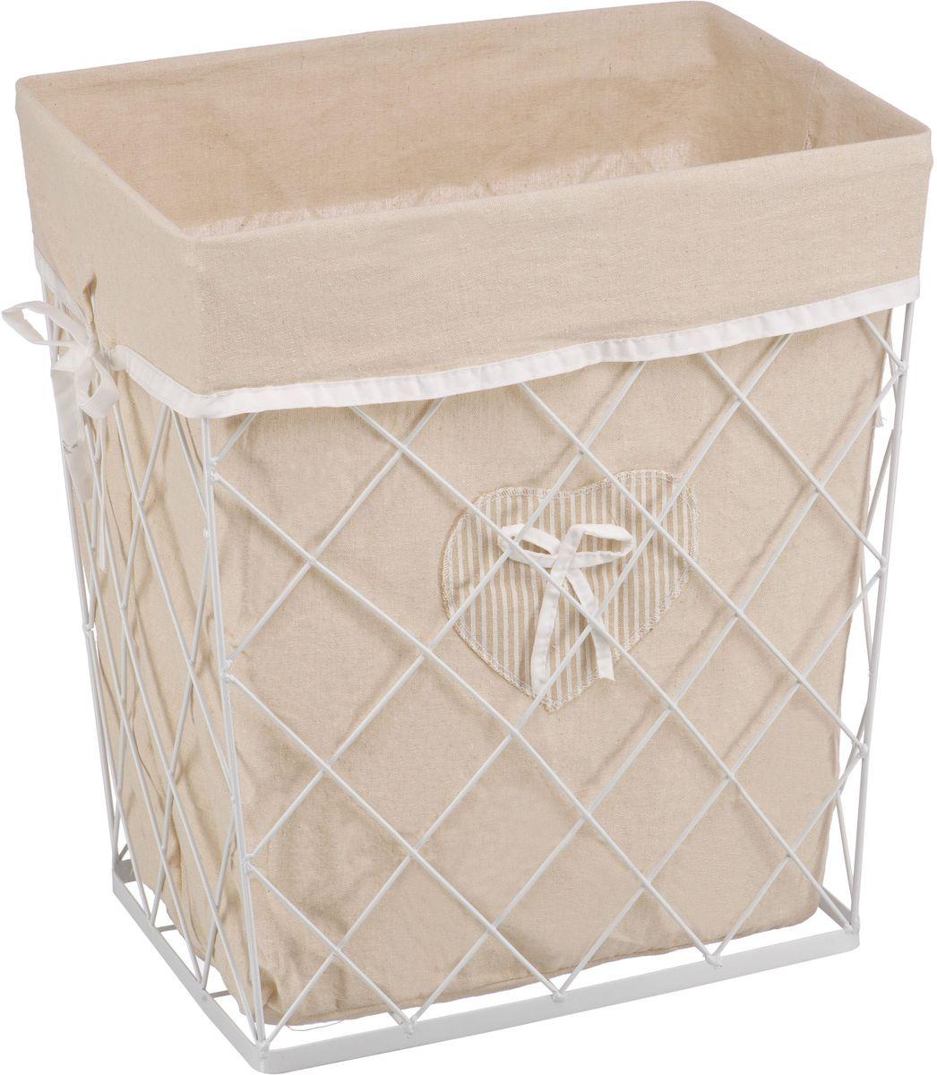 Корзина для белья Handy Home Решетка, открытая, цвет: белый, 42 х 31 х 49 см68/5/4Прямоугольная бельевая корзина Handy Home сделана из металла. В комплекте с корзиной идет съемный чехол с бантиком который легко снимается и стирается. Корзина предназначена для хранения вещей и декоративного оформления помещения.