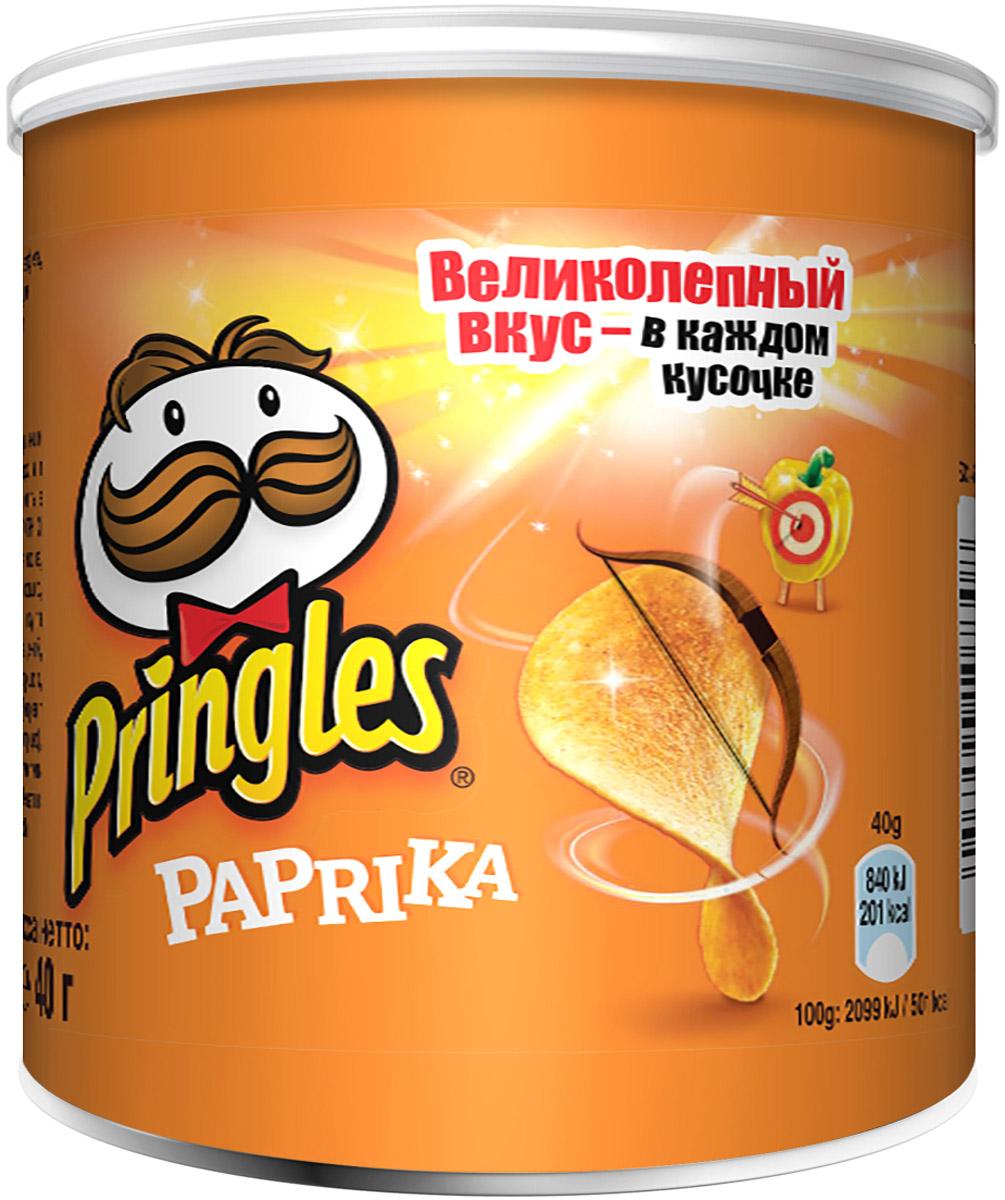 Pringles картофельные чипсы со вкусом паприки, 40 г7000255000Картофельные чипсы Pringles с экзотическим вкусом паприки подарят вам непередаваемую атмосферу восточного города.Уважаемые клиенты! Обращаем ваше внимание на то, что упаковка может иметь несколько видов дизайна. Поставка осуществляется в зависимости от наличия на складе.