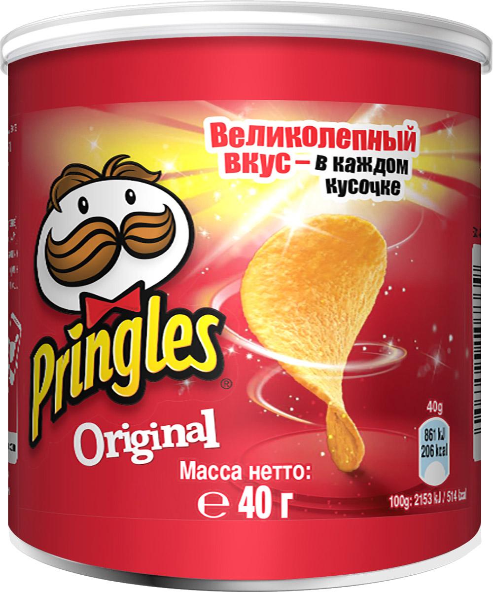 Pringles Original картофельные чипсы, 40 г0120710Настоящий, оригинальный вкус чипсов Pringles. Это классика - идеальная форма и совершенный вкус!Уважаемые клиенты! Обращаем ваше внимание на то, что упаковка может иметь несколько видов дизайна. Поставка осуществляется в зависимости от наличия на складе.