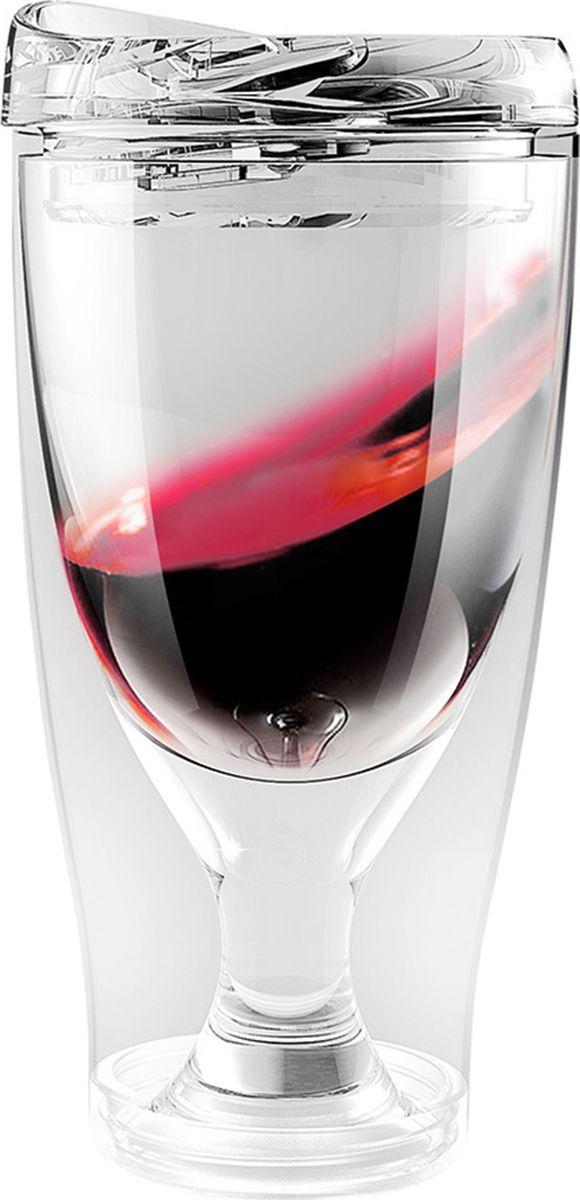 Термокружка Asobu Ice vino 2go, цвет: прозрачный, 480 млKOC-H19-LEDТермокружка Asobu Ice vino 2go охлаждает вино пока вы его пьете и сохраняет ваши вина идеальной температуры даже в жаркий солнечный день. Идеален для использования дома, отдыха на природе, баре.Откройте крышку, заполните емкость ледяной водой по рекомендуемую метку, переверните бокал и налете любимое вино. Чтобы взять с собой, закройте стакан крышкой и вперед.Материал: ПластикВысота (см): 18.5Диаметр (см): 9