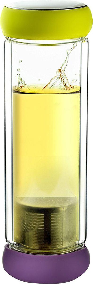 Термобутылка Asobu Twin lid, цвет: желтый, фиолетовый, 400 млTWG1 lime-purpleAsobu - бренд посуды для питья, выделяющийся творческим, оригинальным дизайном и инновационными решениями.Asobu разработан Ad-N-Art в Канаде и в переводе с японского означает «весело и с удовольствием». И действительно, только взгляните на каталог представленных коллекций и вы поймете, что Asobu - посуда, которая вдохновляет!Кроме яркого и позитивного дизайна, Asobu отличается и качеством материалов из которых изготовлена продукция - это всегда чрезвычайно ударопрочный пластик и 100% BPA Free.За последние 5 лет, благодаря своему дизайну и функциональности, Asobu завоевали популярность не только в Канаде и США, но и во всем мире!Термобутылка Asobu Twin lid представляет собой сочетание современного искусства с функциональным дизайном. Двустенная стеклянная бутылка для чая или любого другого напитка.Герметичные красочные крышки, делают Twin lid приятным и удобным в использовании даже если вы находитесь в спешке.Twin lid прост в использовании, просто вскипятите воду, а затем добавьте свой любимый чай в фильтр из нержавеющей стали, вставьте фильтр в крышку с фиксатором и закрутите крышку. Налейте горячую воду в противоположную сторону и плотно закройте. Наслаждайтесь!Высота: 23 смДиаметр: 8 см