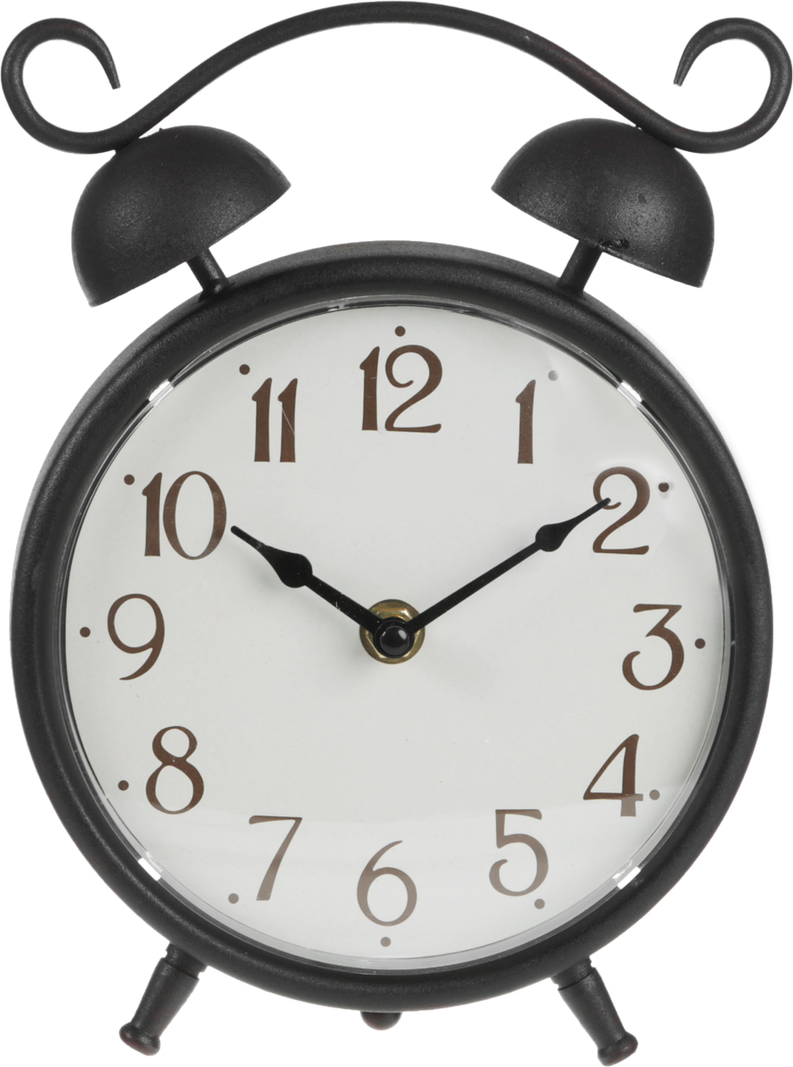 Часы настольные Miralight Будильник, цвет: черный, античная медь54 009318Настольные часы Miralight Будильник, изготовленные из металла, прекрасно украсят интерьер вашего помещения. Часы, выполненные в модном стиле ретро, имеют массивный металлический корпус и декорированы элементом художественной ковки. Циферблат круглой формы имеет две стрелки: часовую и минутную и элегантные арабские цифры. Часы-будильник не позволят вам опоздать на важную встречу или совещание. На задней панели часов есть регуляторы для установки времени, будильника. Питание осуществляется от одной батарейки типа АА (не входит в комплект). Оформите свой дом таким интерьерным аксессуаром или преподнесите его в качестве презента друзьям, и они оценят ваш оригинальный вкус и неординарность подарка.