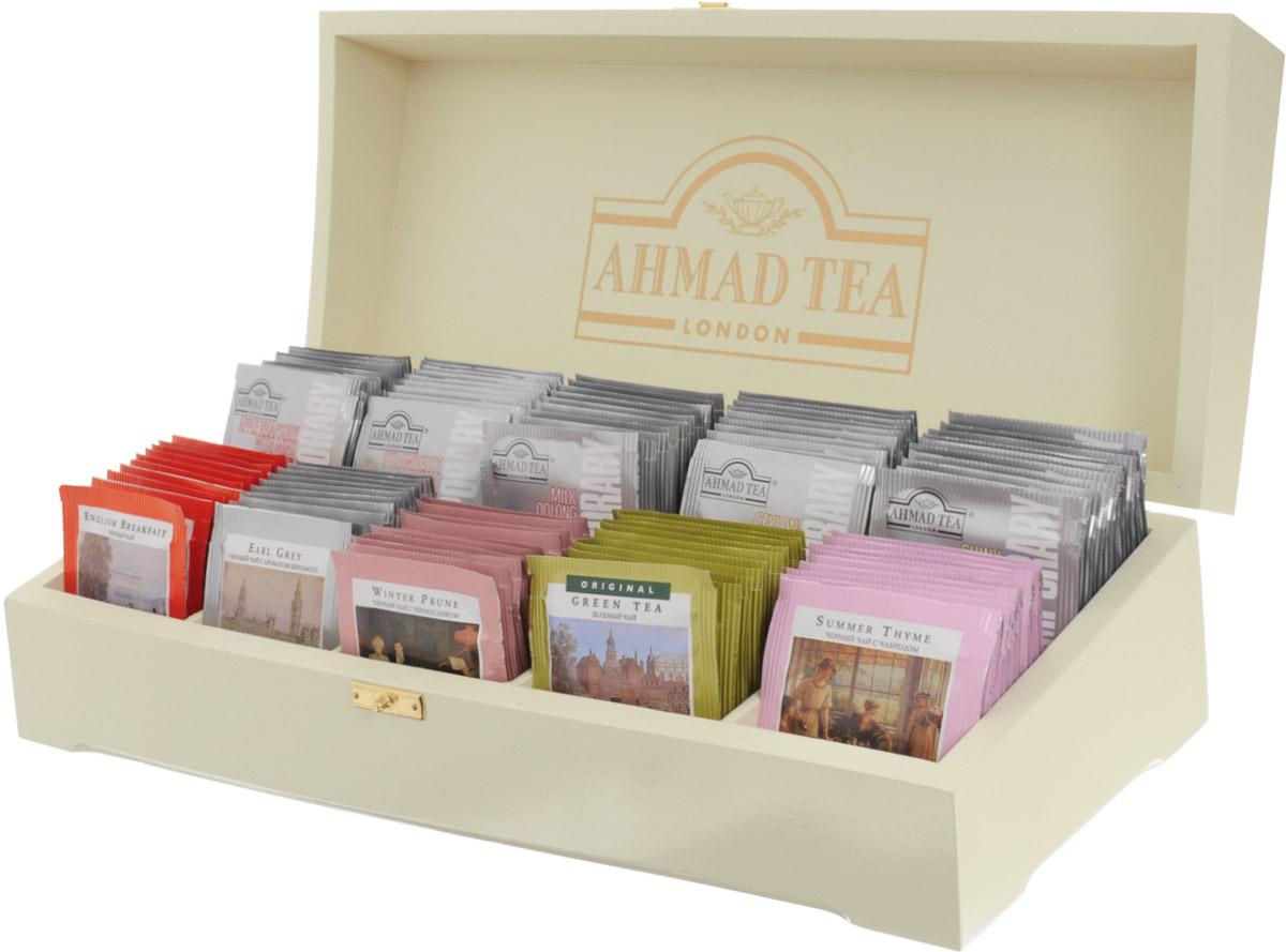 Ahmad Tea Подарочная шкатулка чай в пакетиках, 100 шт0120710Это чайное ассорти - воплощение разнообразия и богатства чайного мира. В коллекции Ahmad Tea вы обязательно найдете вкус, который захочется попробовать именно сегодня.В набор входят десять вкусов: смесь благородного цейлонского чая и чая из провинции Ассам с добавлением традиционного чабреца; купаж высококачественного цейлонского чая с ароматом бергамота; китайский зеленый чай с едва заметной горчинкой, легкостью и свежестью во вкусе; китайский черный чай, смягченный сладостью чернослива в купаже; купаж крепких сортов черного цейлонского, ассамского и кенийского чая; китайский зеленый чай с лимоном и лаймом; черный чай с десертным дуэтом клубники со сливками; молочный улун для ценителей китайских зеленых сортов чая; освежающая яблочно-мятная композиция на основе купажа черных чаев; классический цейлонский чай, собранный на высокогорных плантациях острова Шри-Ланка.Уважаемые клиенты! Обращаем ваше внимание, что полный перечень состава продукта представлен на дополнительном изображении.